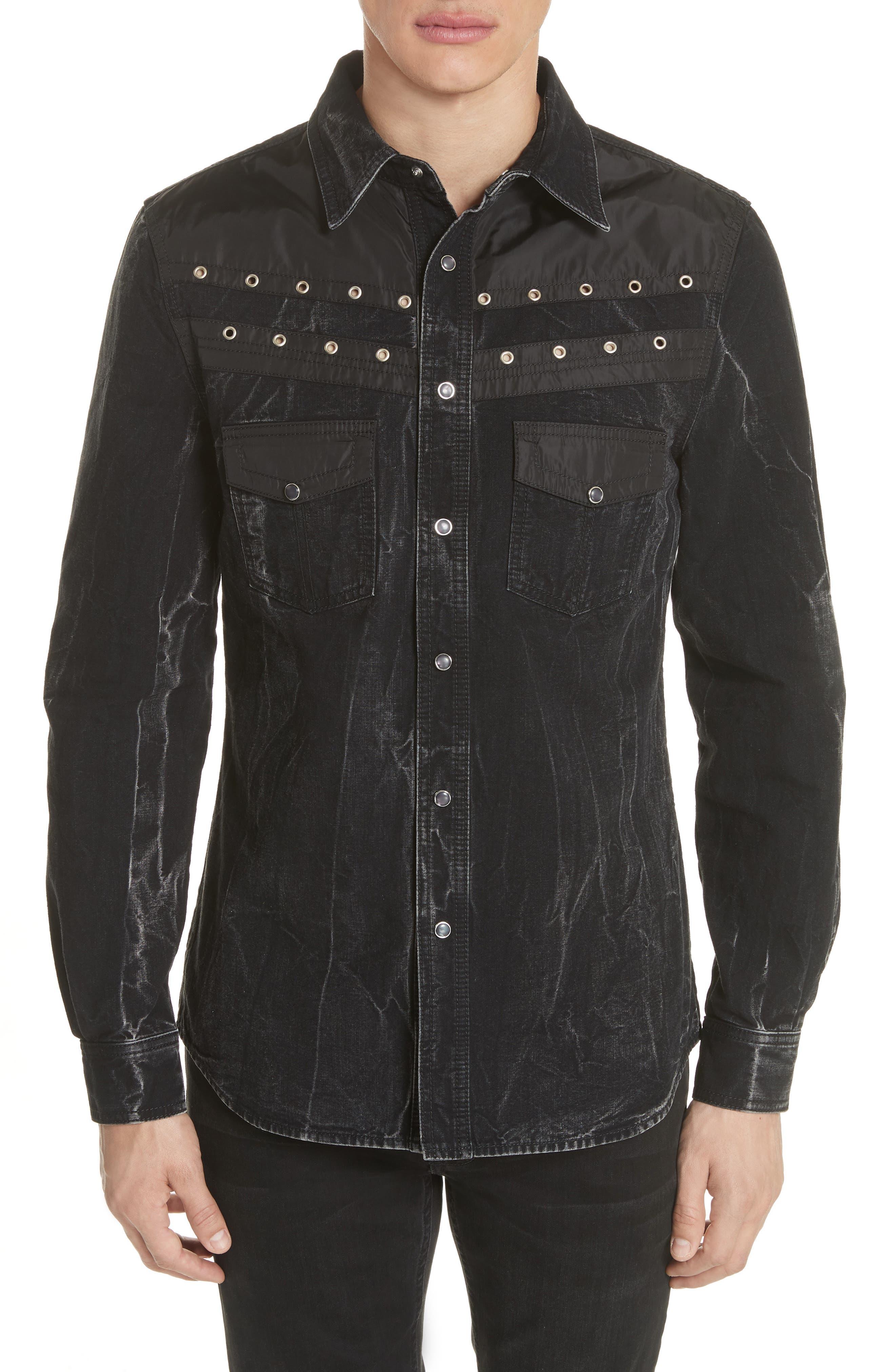 Denim Shirt,                         Main,                         color, BLACK/ GREY