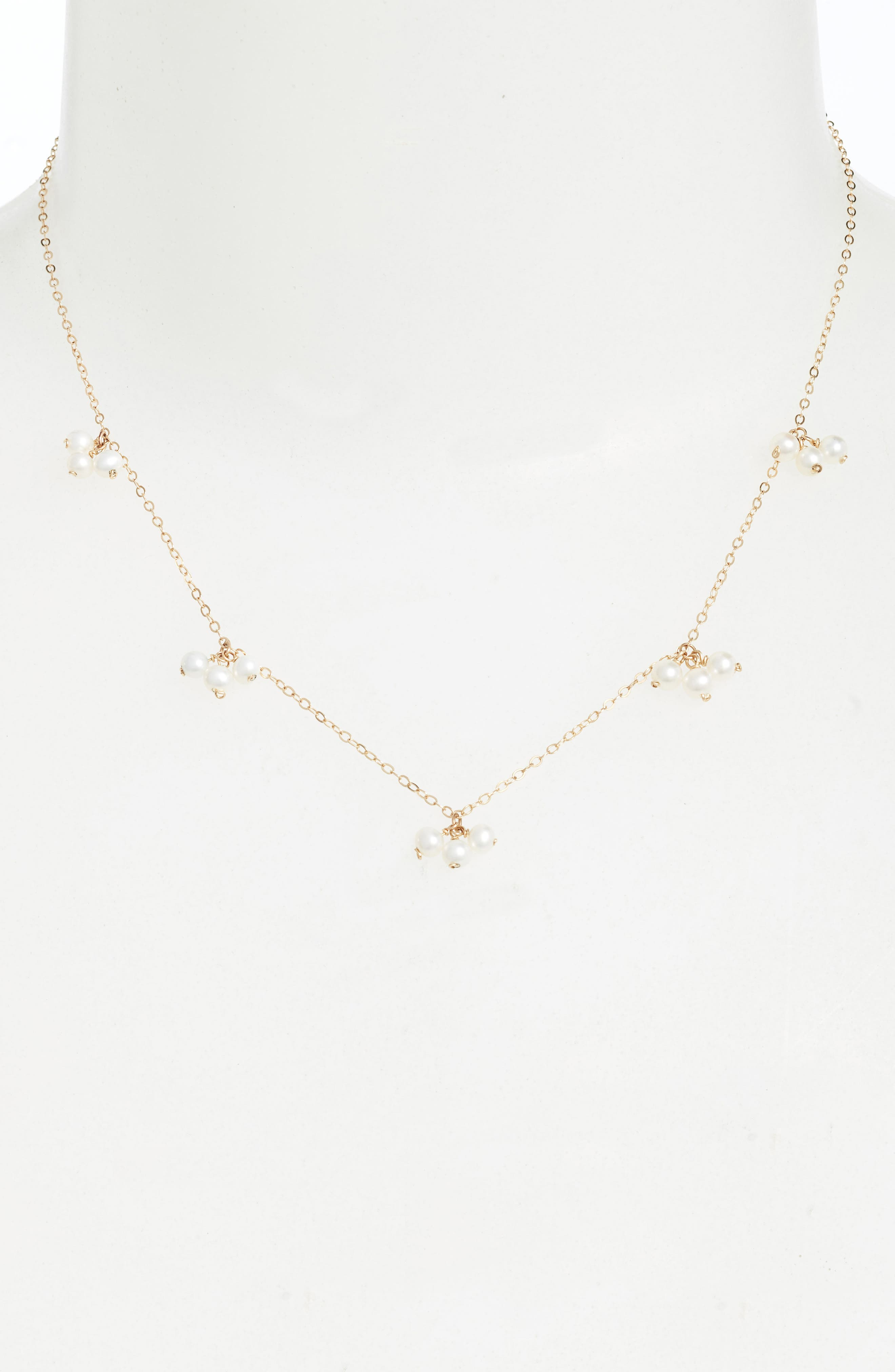 Baby Pearl Trio Gold Station Necklace,                             Alternate thumbnail 2, color,                             YELLOW GOLD/ WHITE PEARL