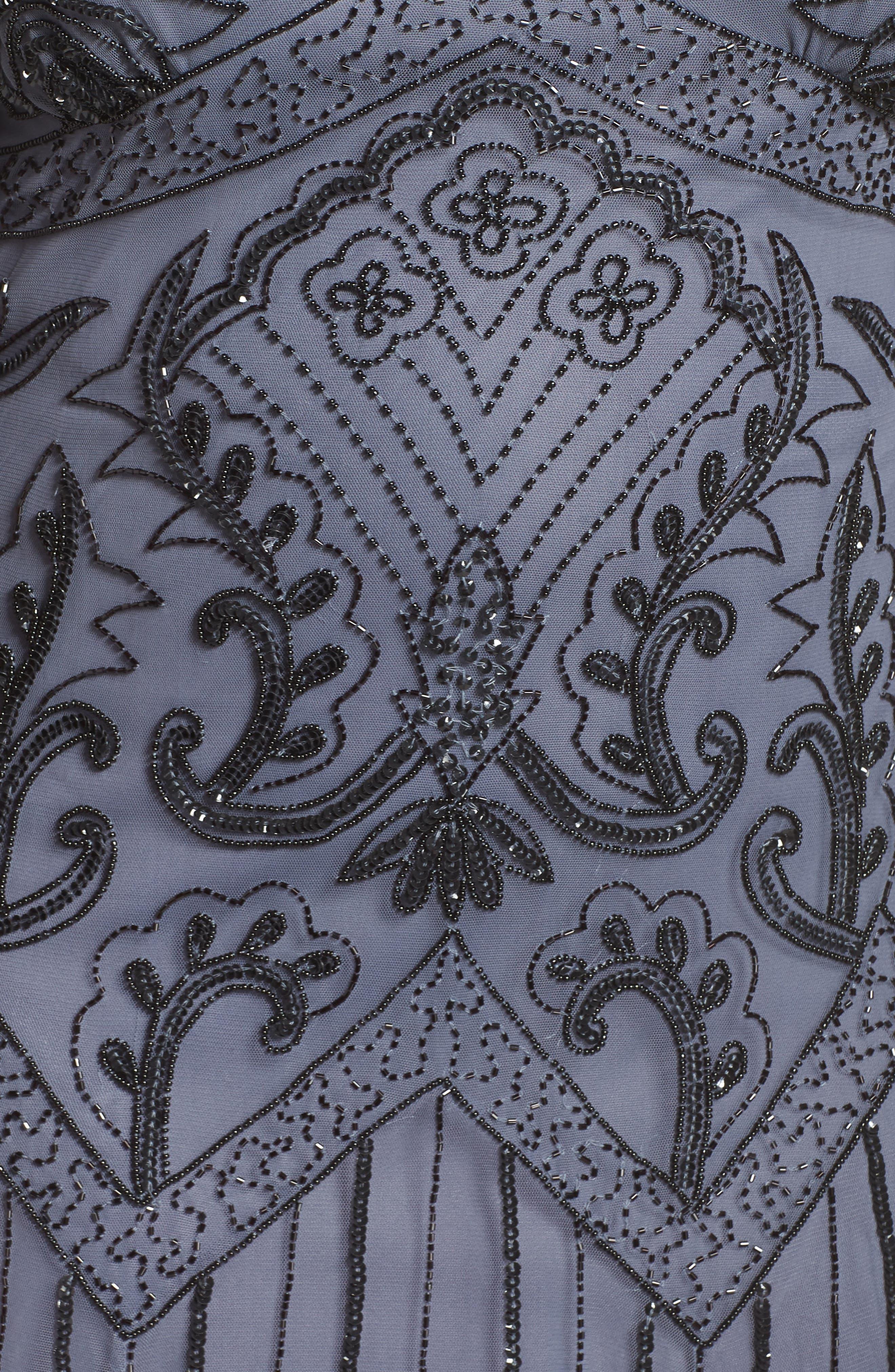 Embellished Double V-Neck Long Dress,                             Alternate thumbnail 6, color,                             GREY/ SILVER