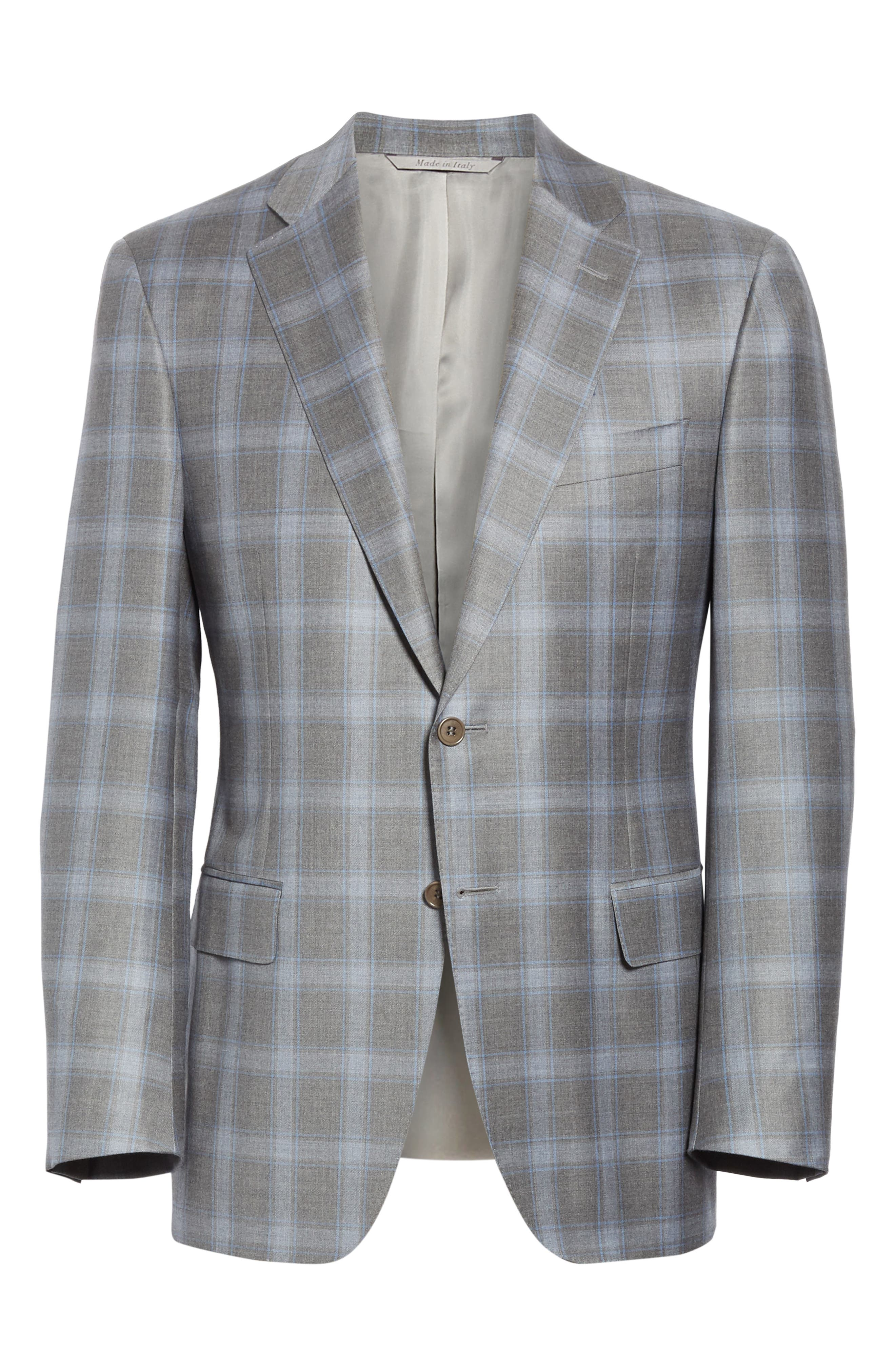 Sienna Classic Fit Plaid Wool Sport Coat,                             Alternate thumbnail 5, color,                             GREY