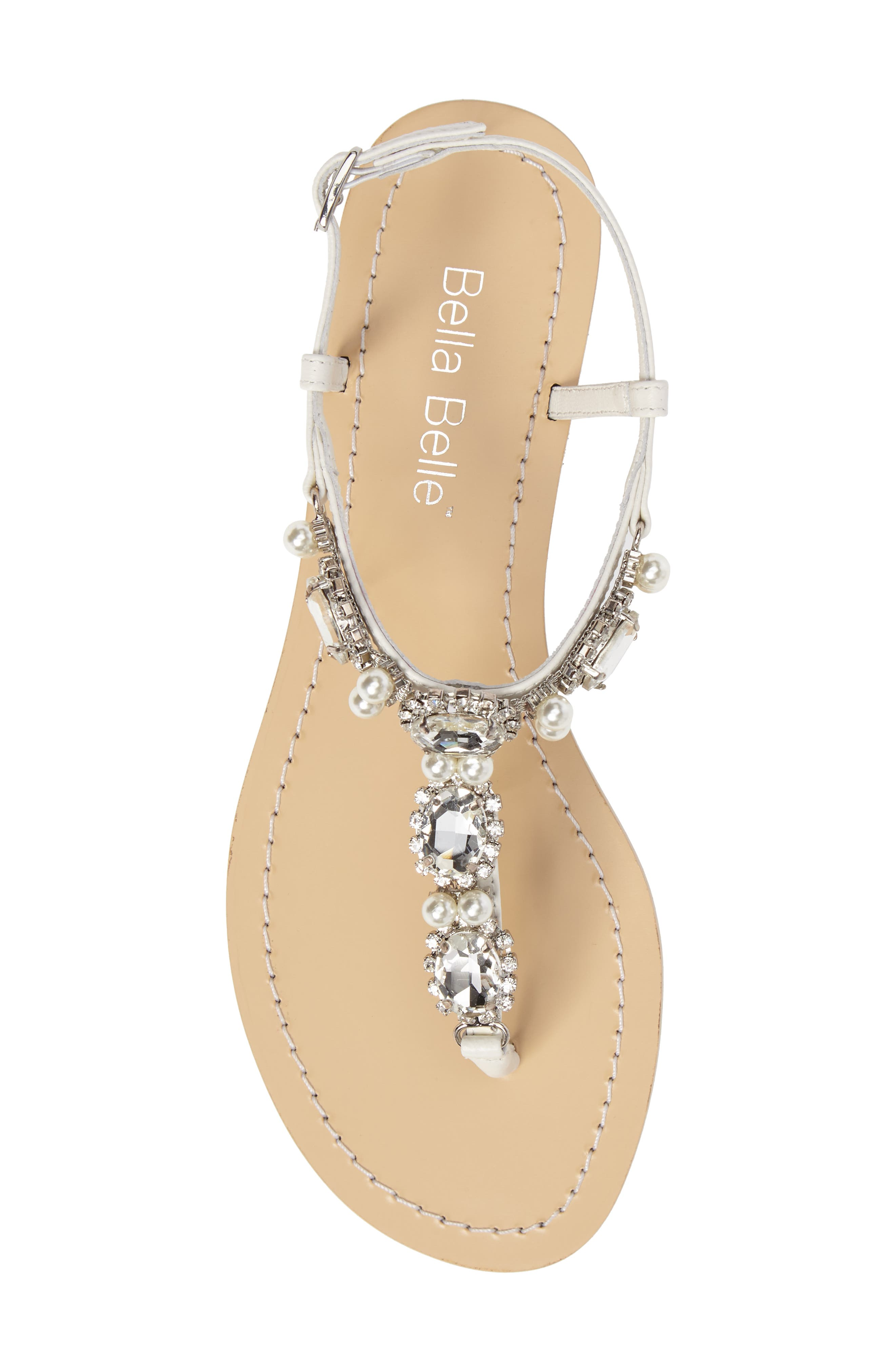 Hera Embellished T-Strap Sandal,                             Alternate thumbnail 5, color,                             OFF WHITE LEATHER