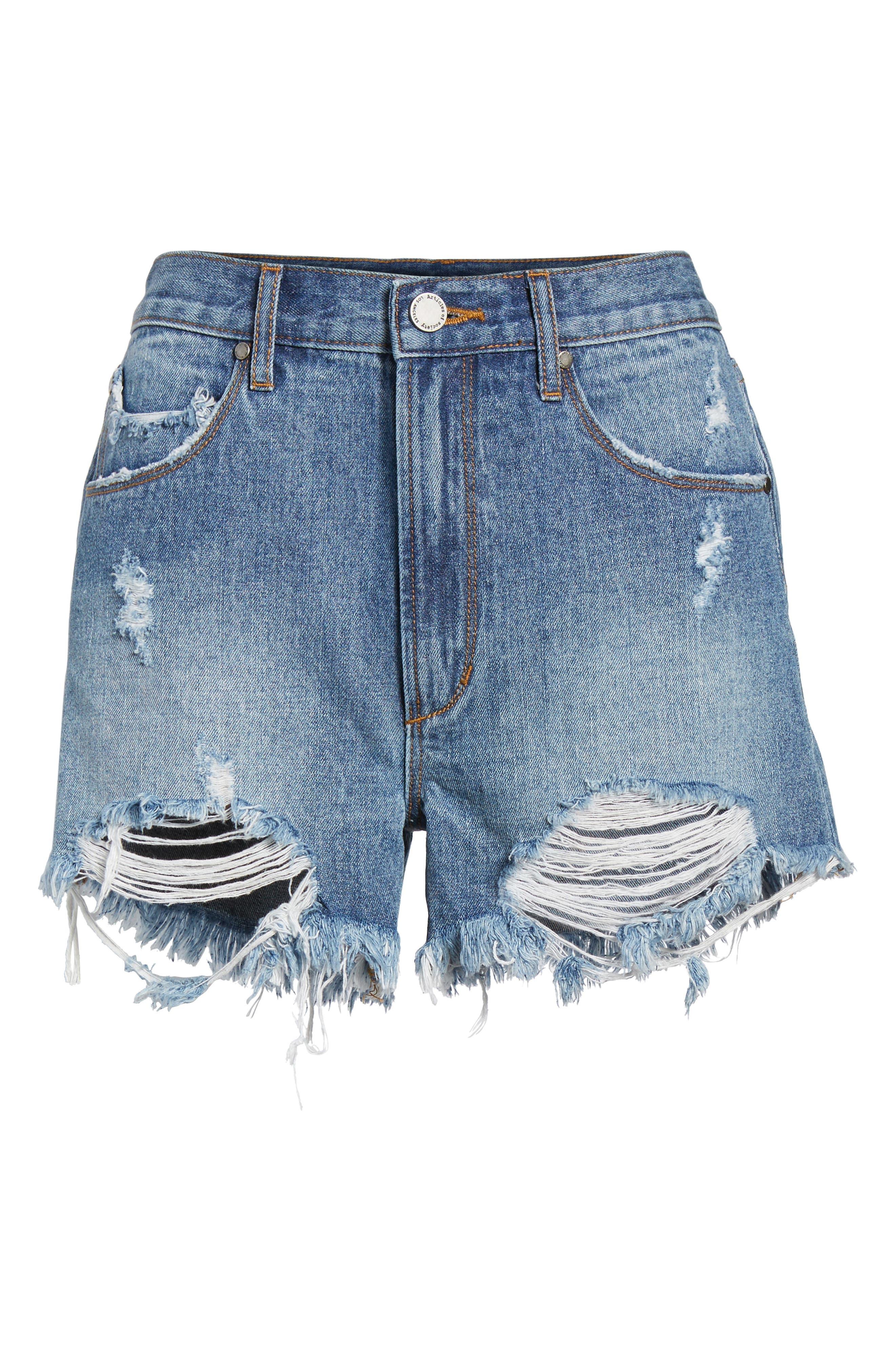 Meredith Destroyed Hem Denim Shorts,                             Alternate thumbnail 7, color,                             VALENCIA