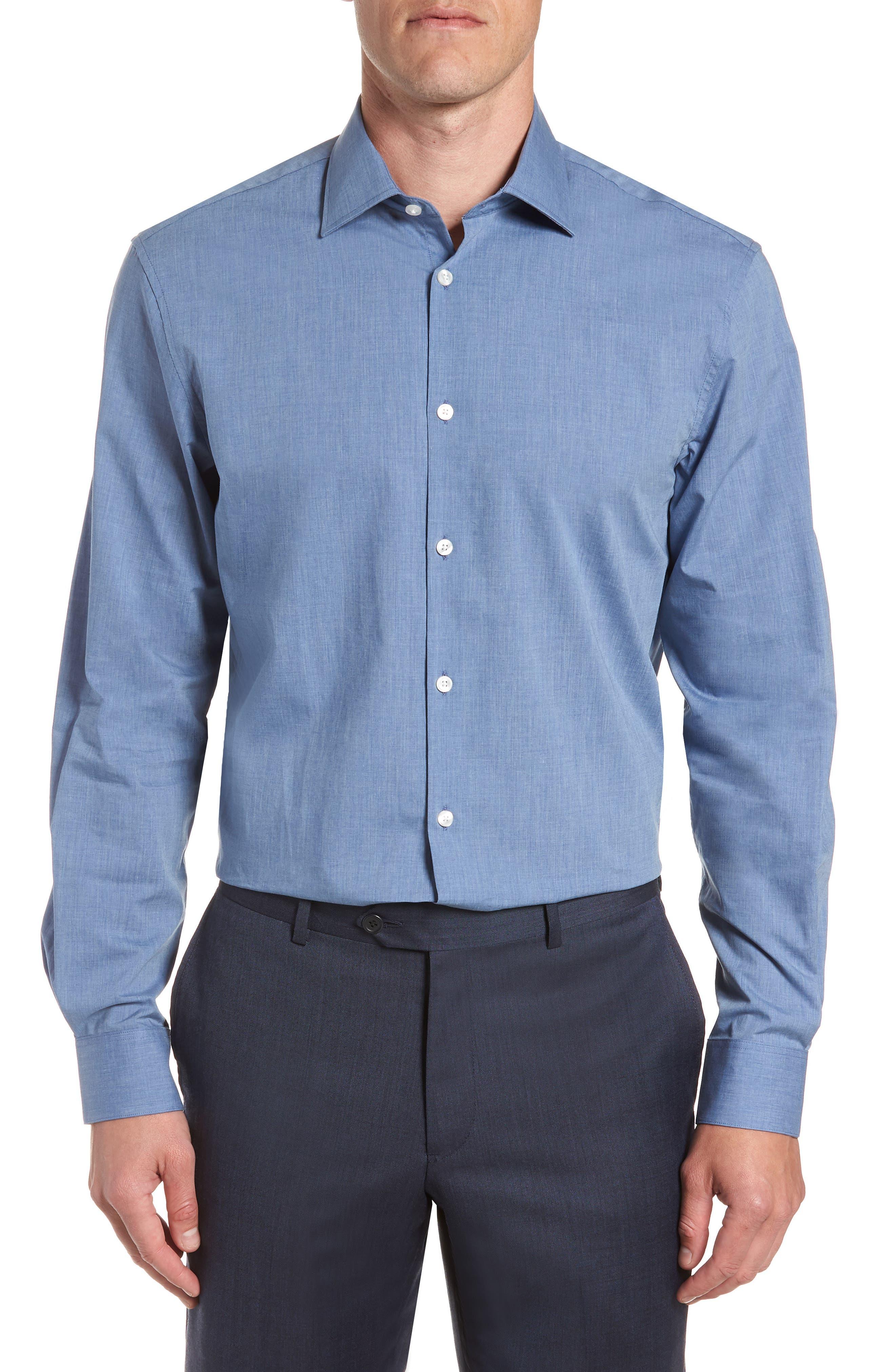 Regular Fit Solid Dress Shirt,                             Main thumbnail 1, color,                             BLUE HEATHER