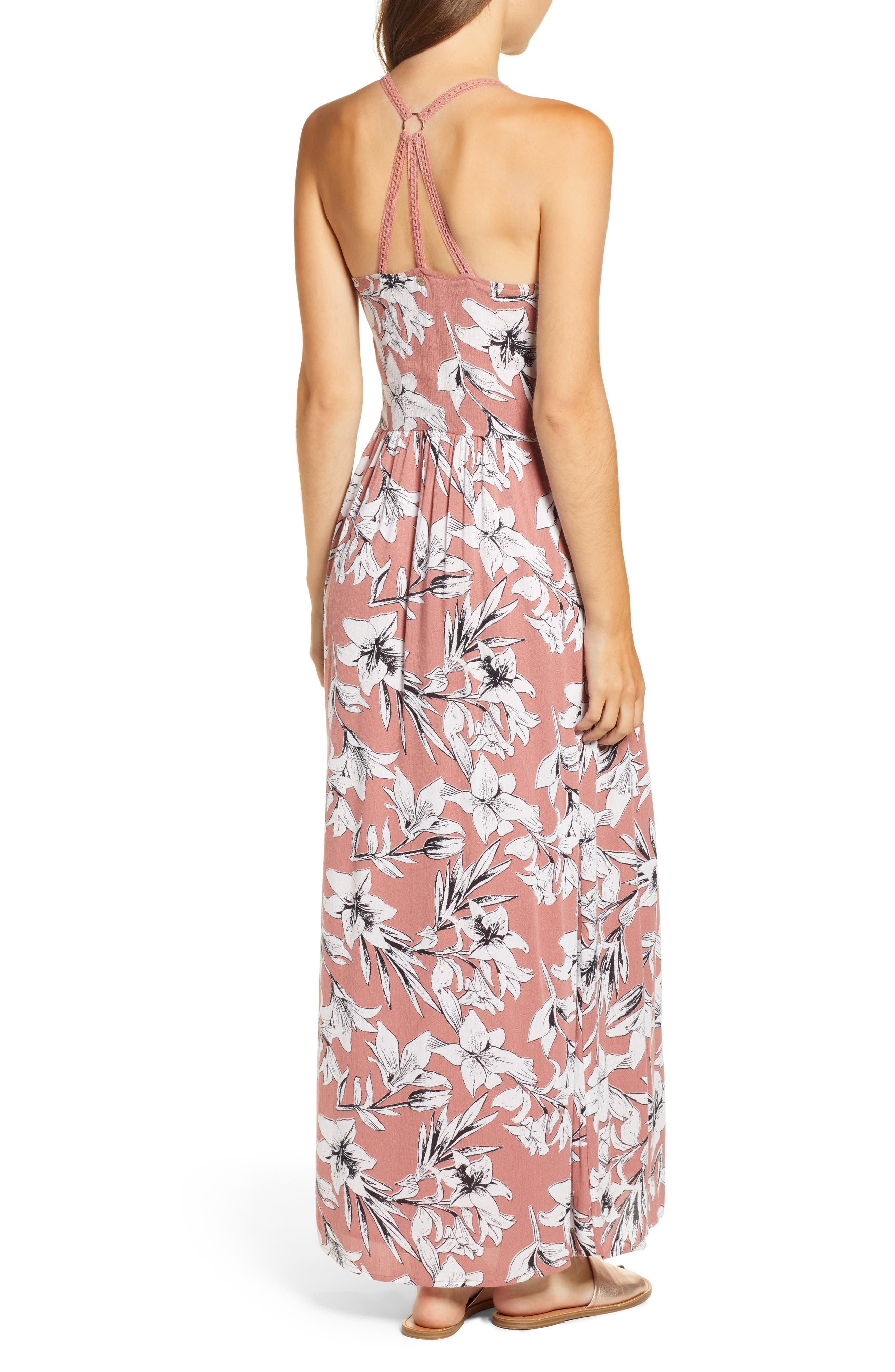 Pavement Border Maxi Dress,                             Alternate thumbnail 2, color,                             WITHERED ROSE LILY HOUSE
