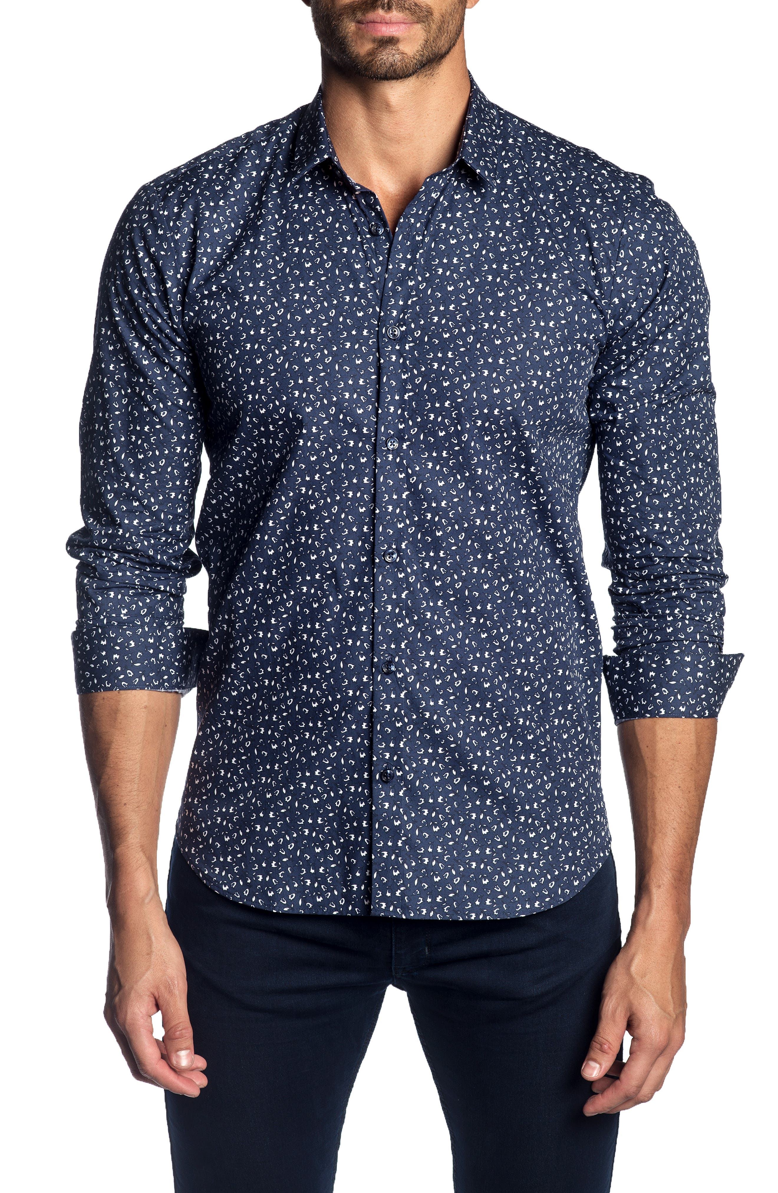 JARED LANG Trim Fit Patterned Sport Shirt in Navy