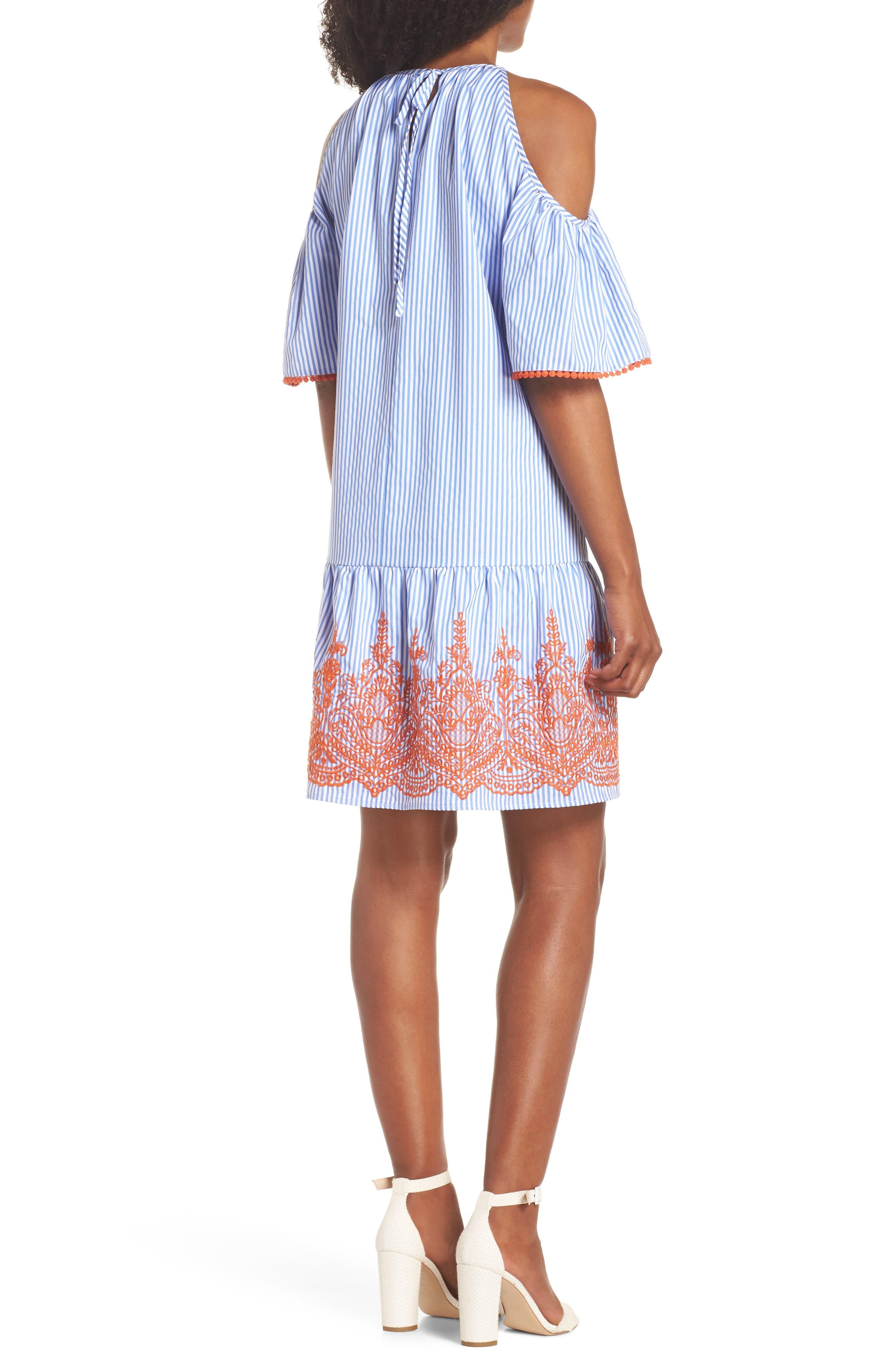 Stripe Cold Shoulder Shift Dress,                             Alternate thumbnail 2, color,                             410