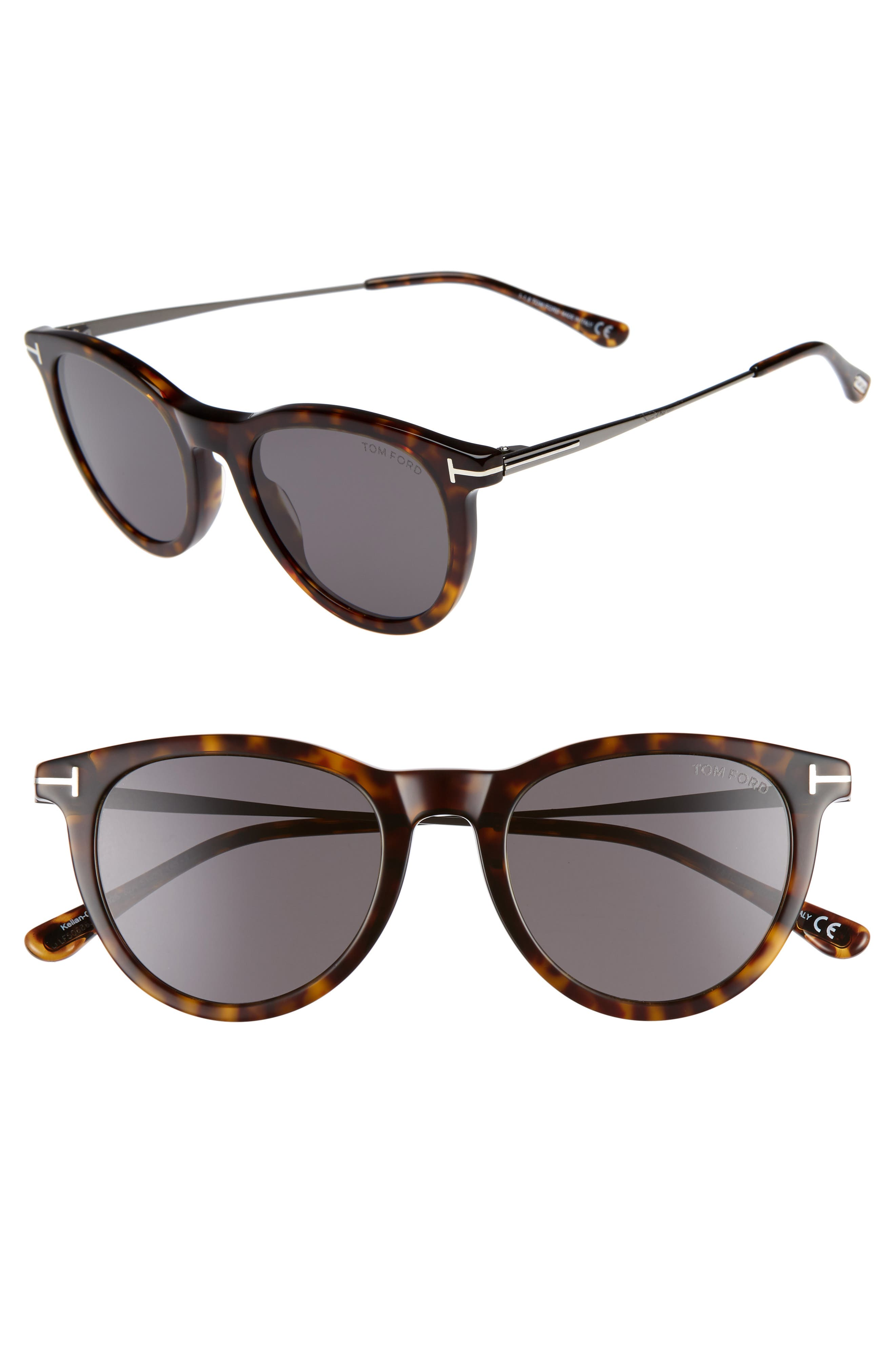 Tom Ford 51Mm Cat Eye Sunglasses - Dark Havana/ Smoke