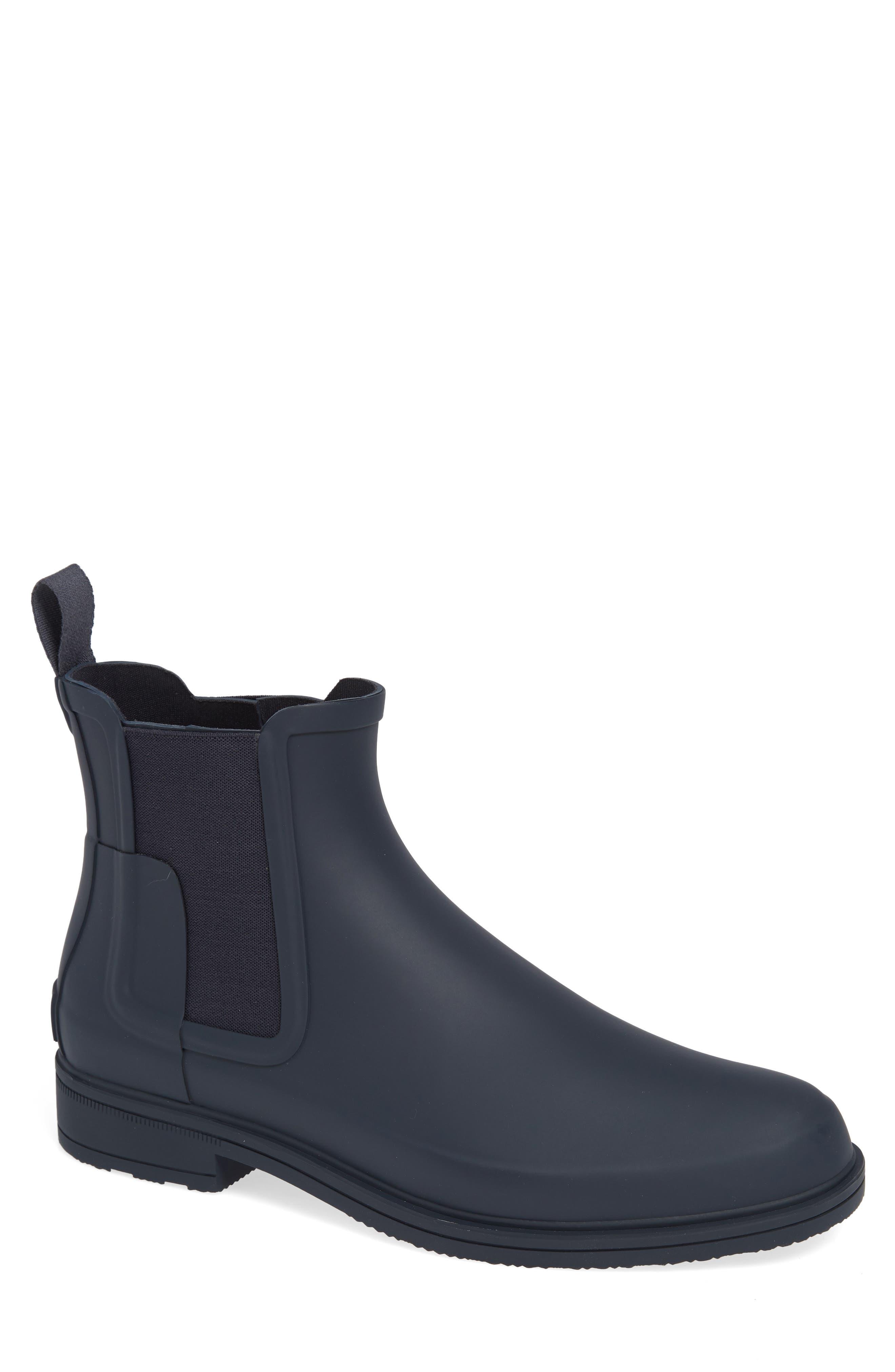 HUNTER,                             Original Refined Waterproof Chelsea Boot,                             Main thumbnail 1, color,                             NAVY RUBBER