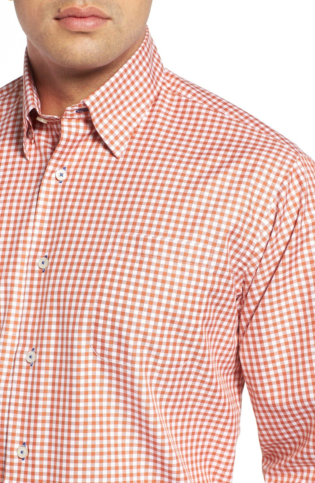 'Anderson' Classic Fit Gingham Sport Shirt,                             Alternate thumbnail 4, color,                             EMBER
