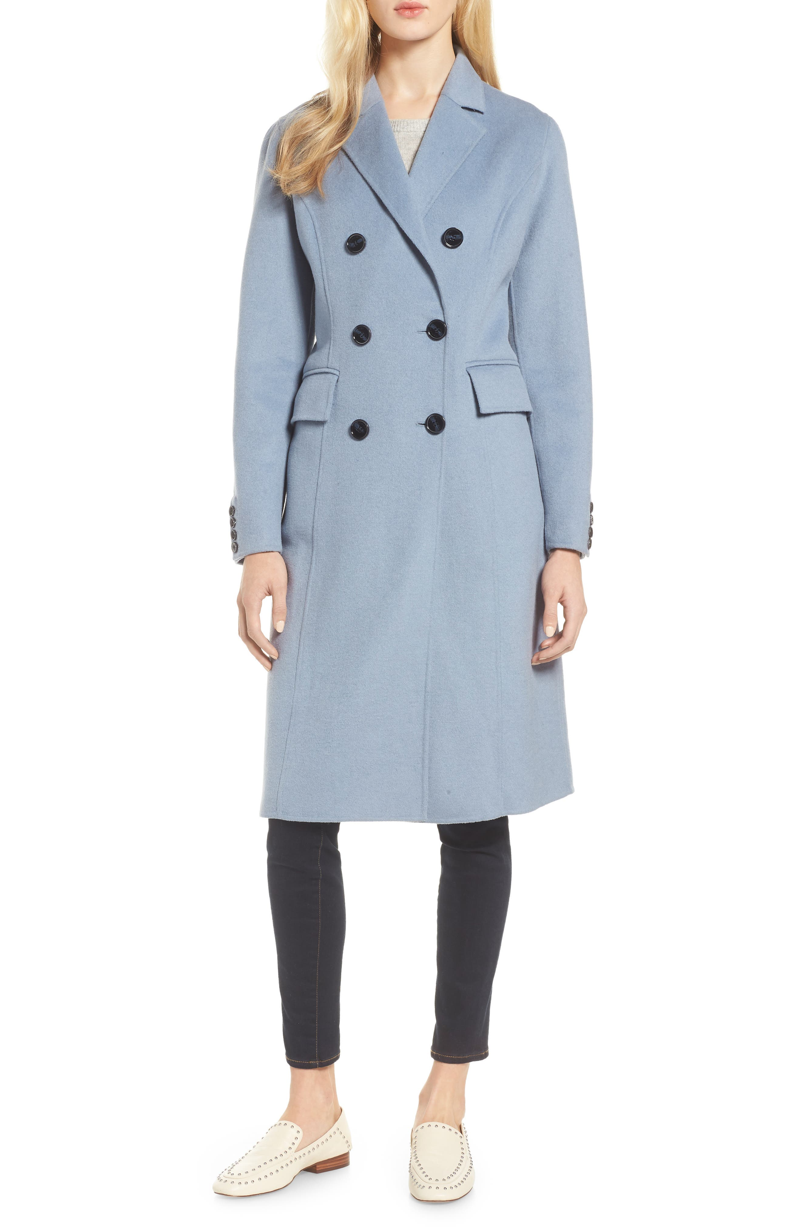 Taylor Double Breasted Wool Coat,                         Main,                         color, PALE BLUE