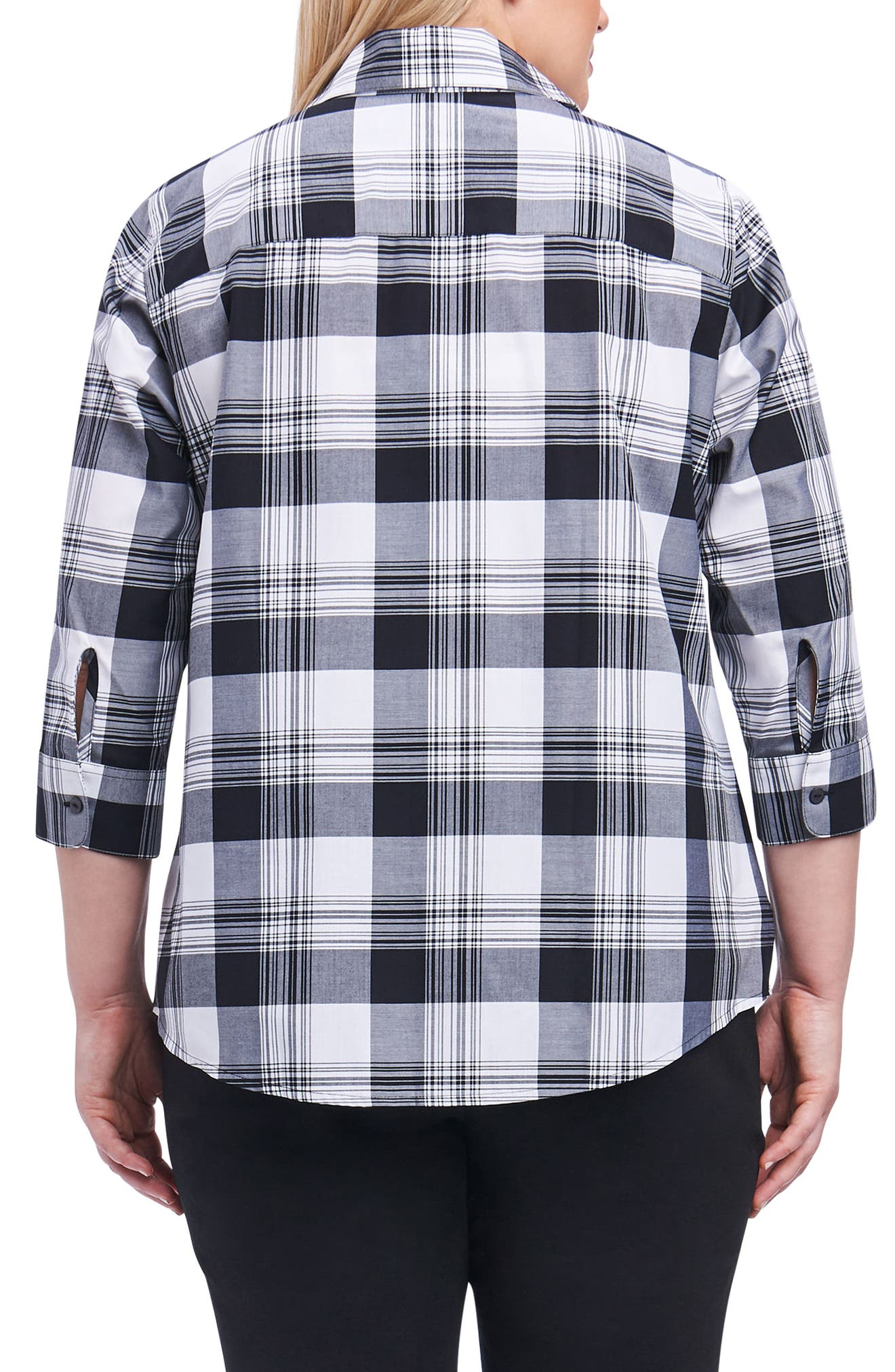 Sue Shaped Fit Plaid Shirt,                             Alternate thumbnail 2, color,                             010