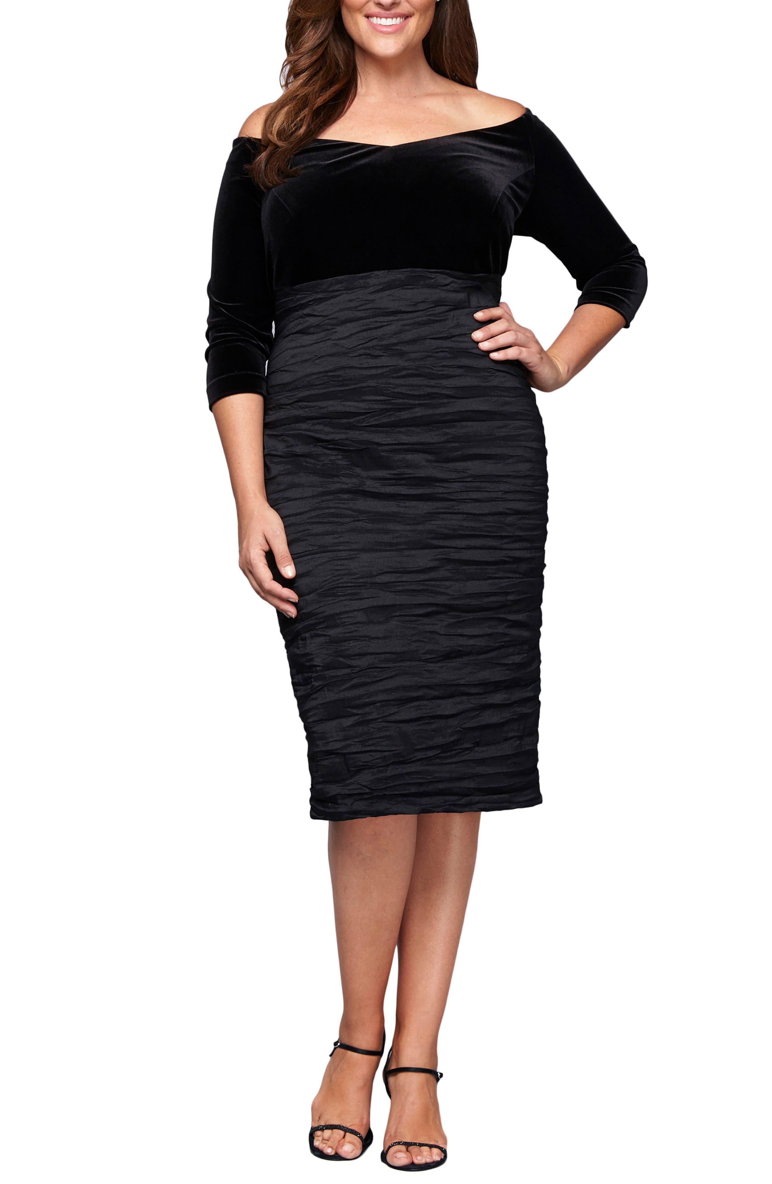 Plus Size Alex Evenings Off The Shoulder Velvet Bodice Sheath Dress, Black