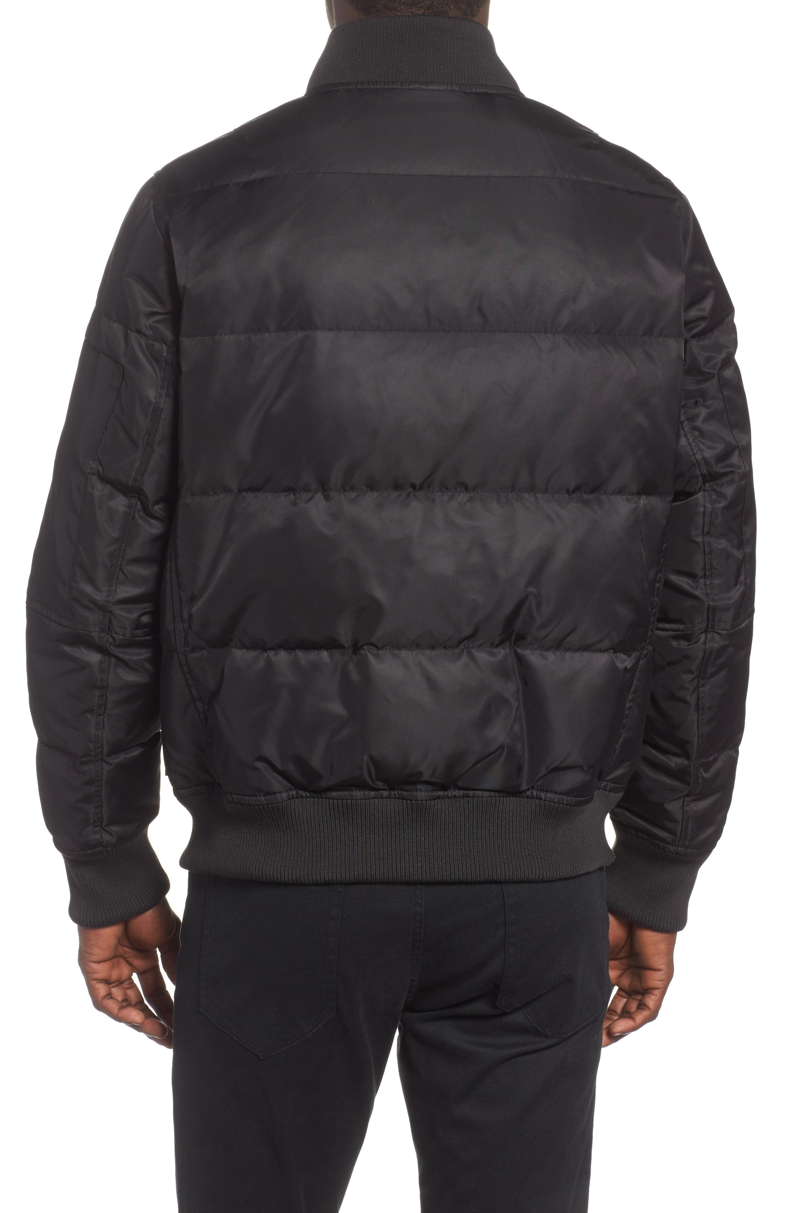 Vandal Down & Feather Fill Quilted Bomber Jacket,                             Alternate thumbnail 2, color,                             BLACK