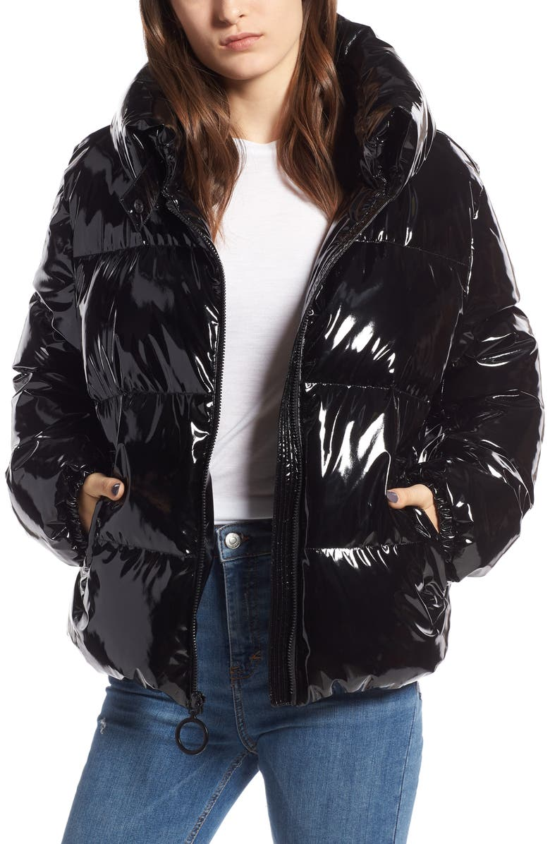 9e11f857efbb0 Kendall + Kylie Cropped Shiny Puffer Coat In Black | ModeSens