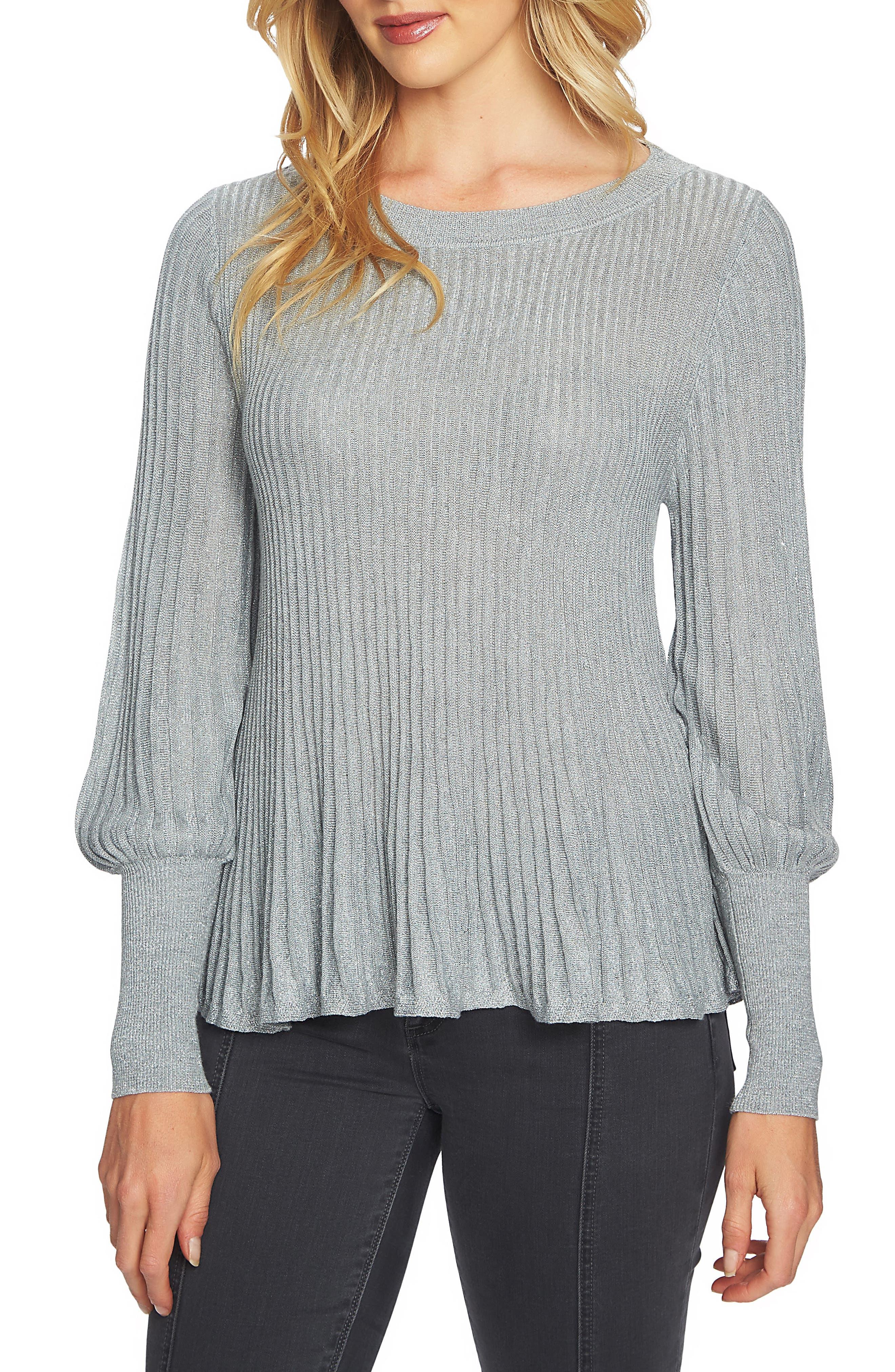 Blouson Sleeve Metallic Swing Sweater,                             Main thumbnail 1, color,                             078