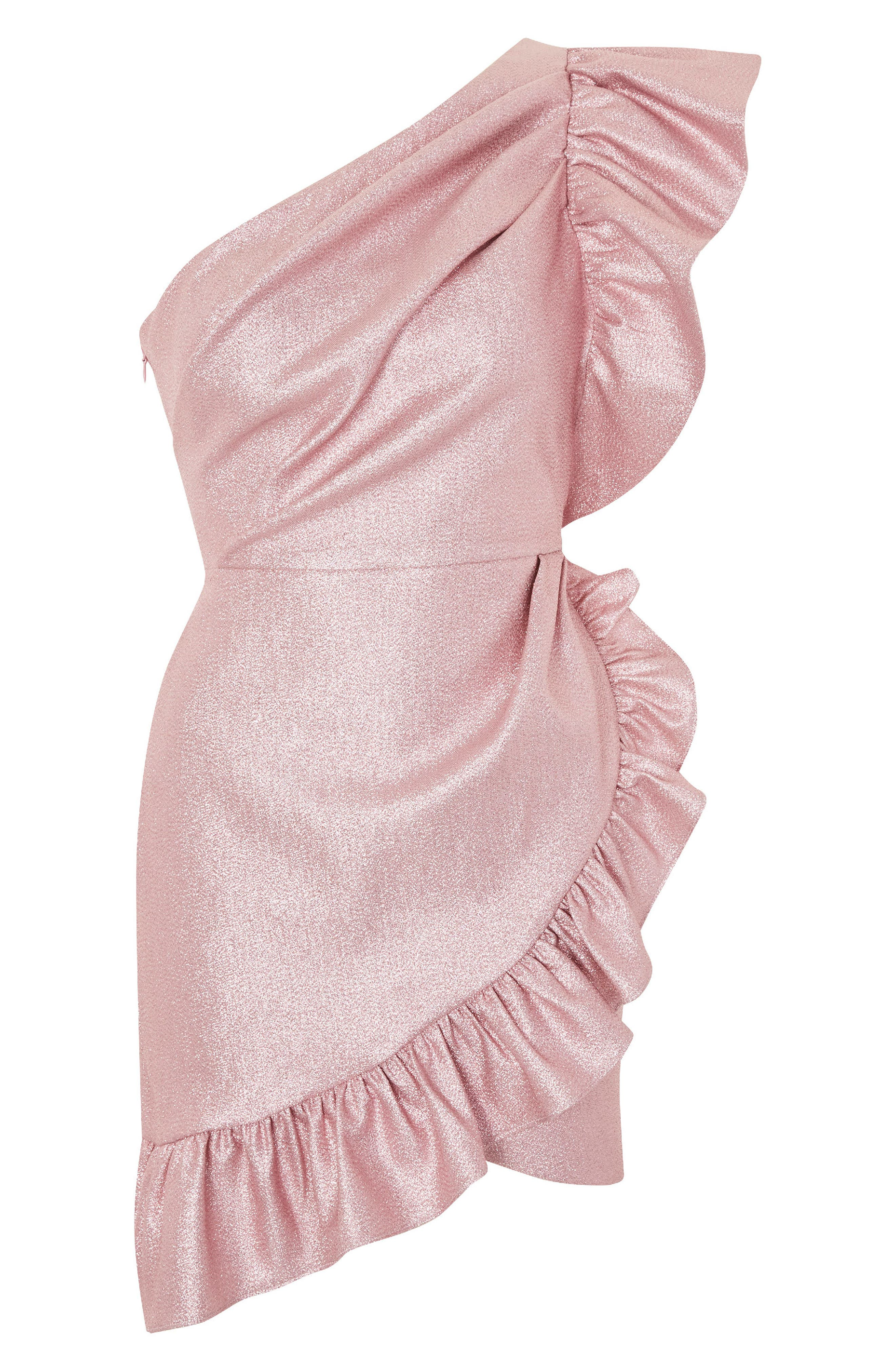 One-Shoulder Ruffle Minidress,                             Alternate thumbnail 6, color,