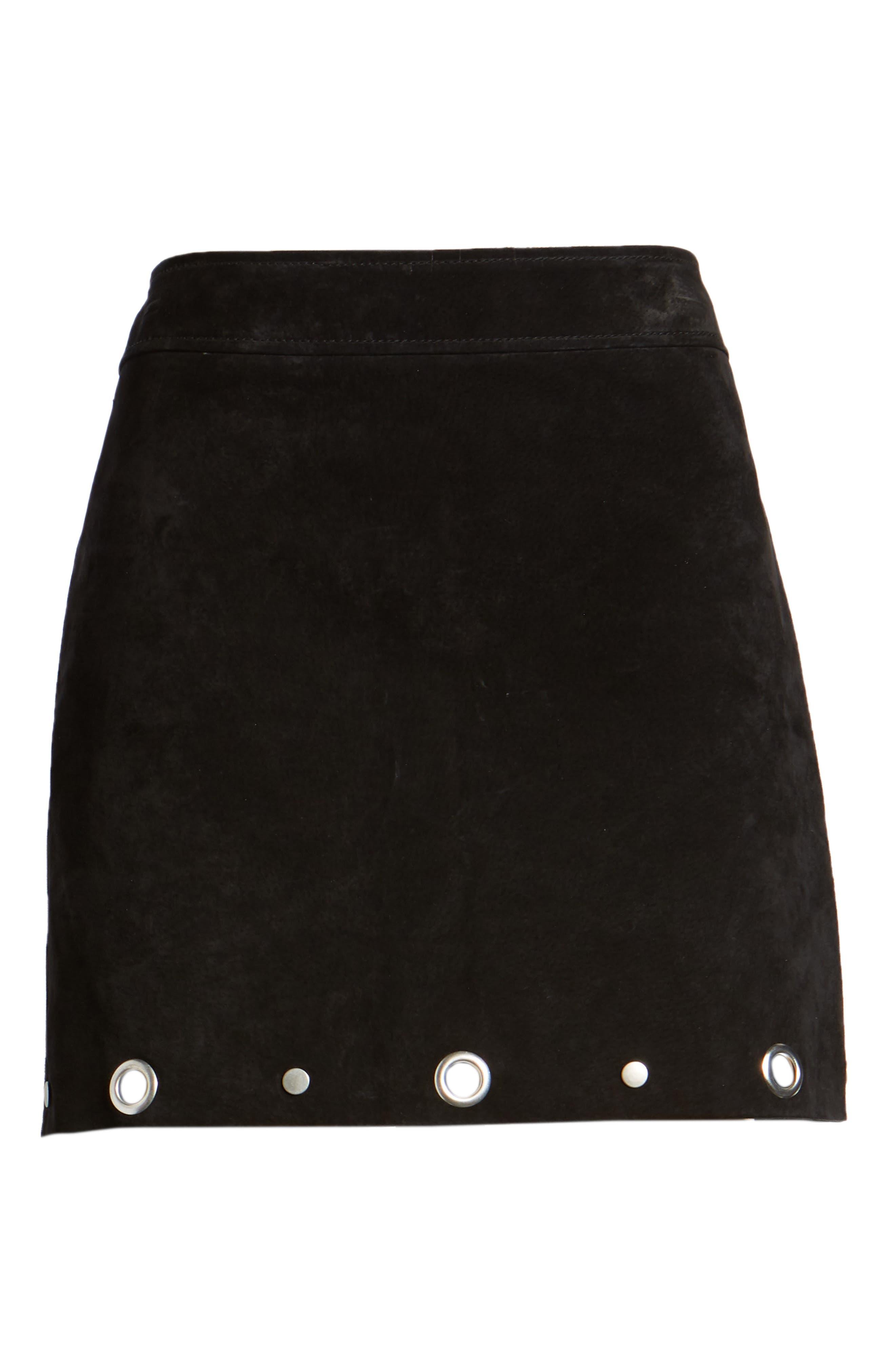 Grommet Suede Skirt,                             Alternate thumbnail 6, color,                             CASTLE BLACK