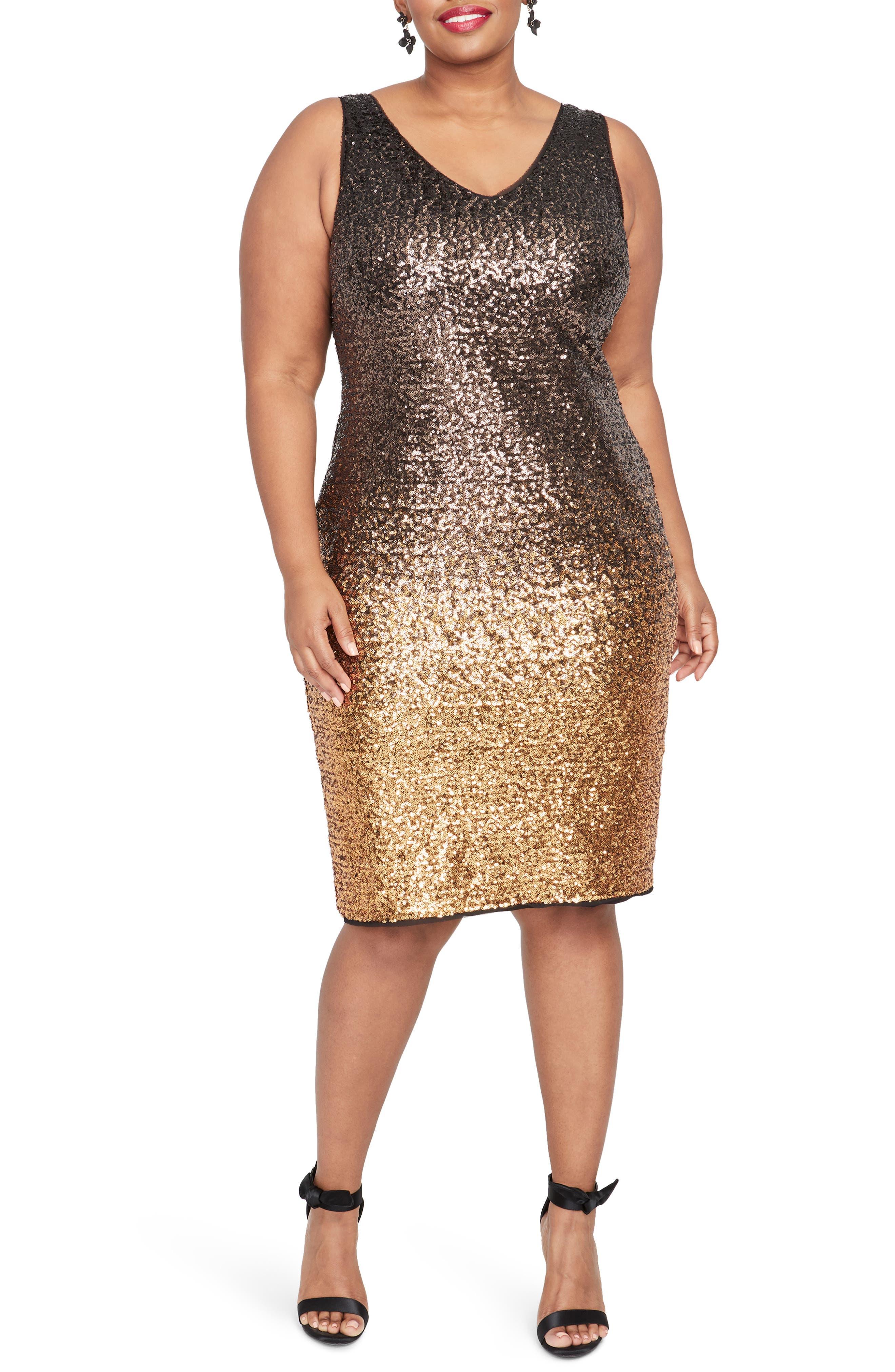 Karine Sequin Sheath Dress,                             Main thumbnail 1, color,                             GOLD COMBO