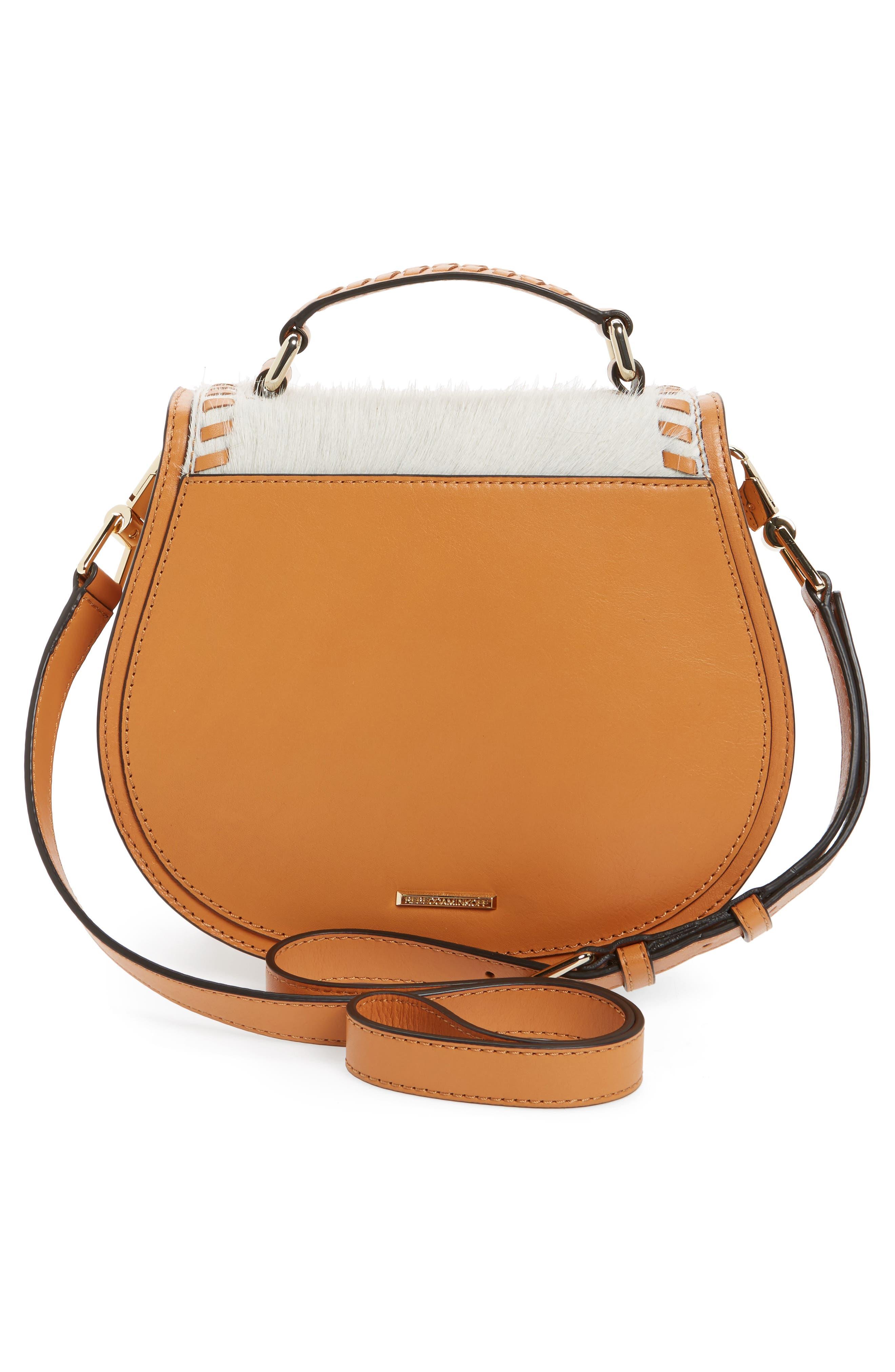 Small Vanity Genuine Calf Hair Saddle Bag,                             Alternate thumbnail 4, color,                             200
