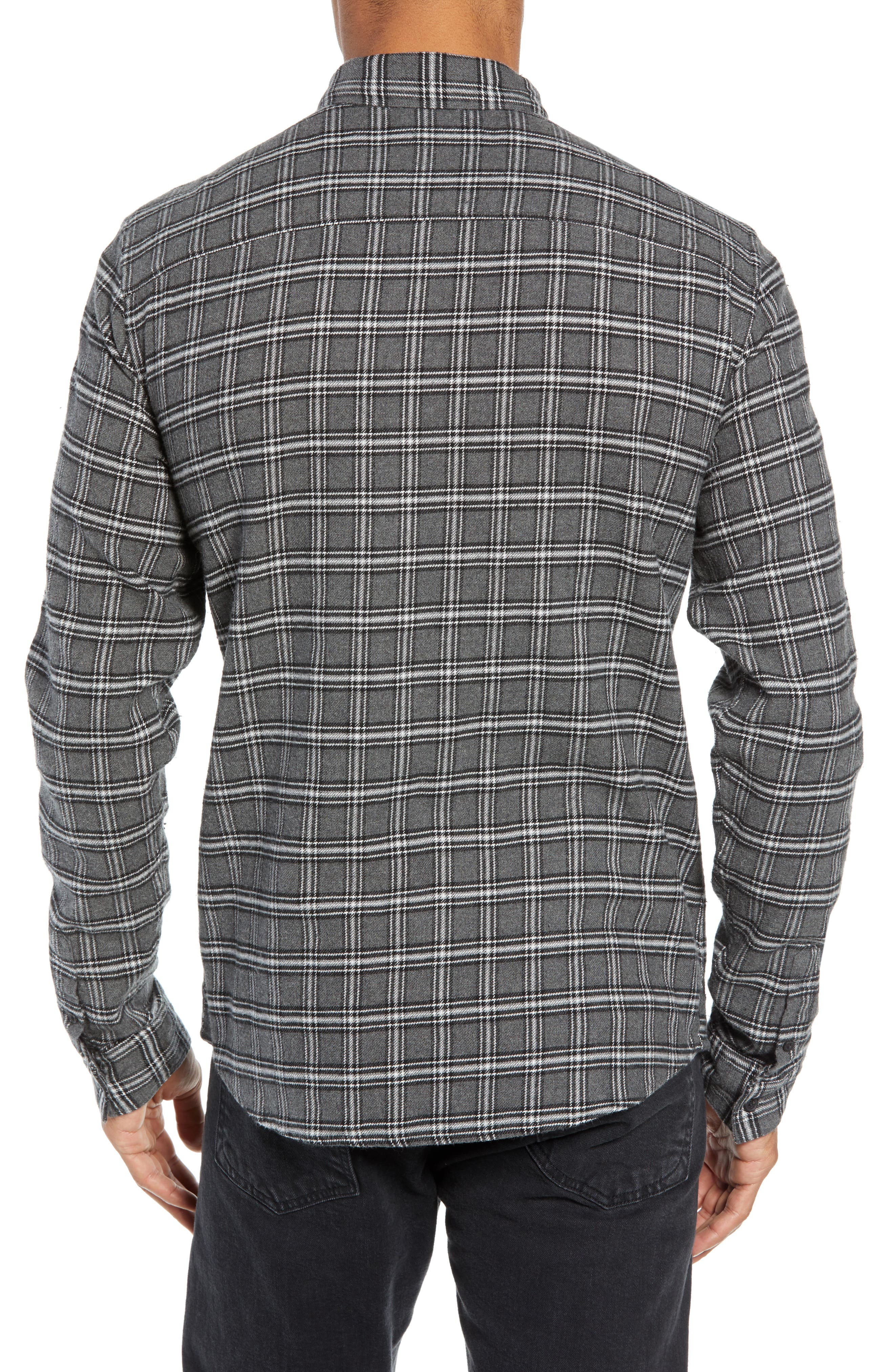Amos Slim Fit Flannel Shirt,                             Alternate thumbnail 3, color,                             GREY MARL