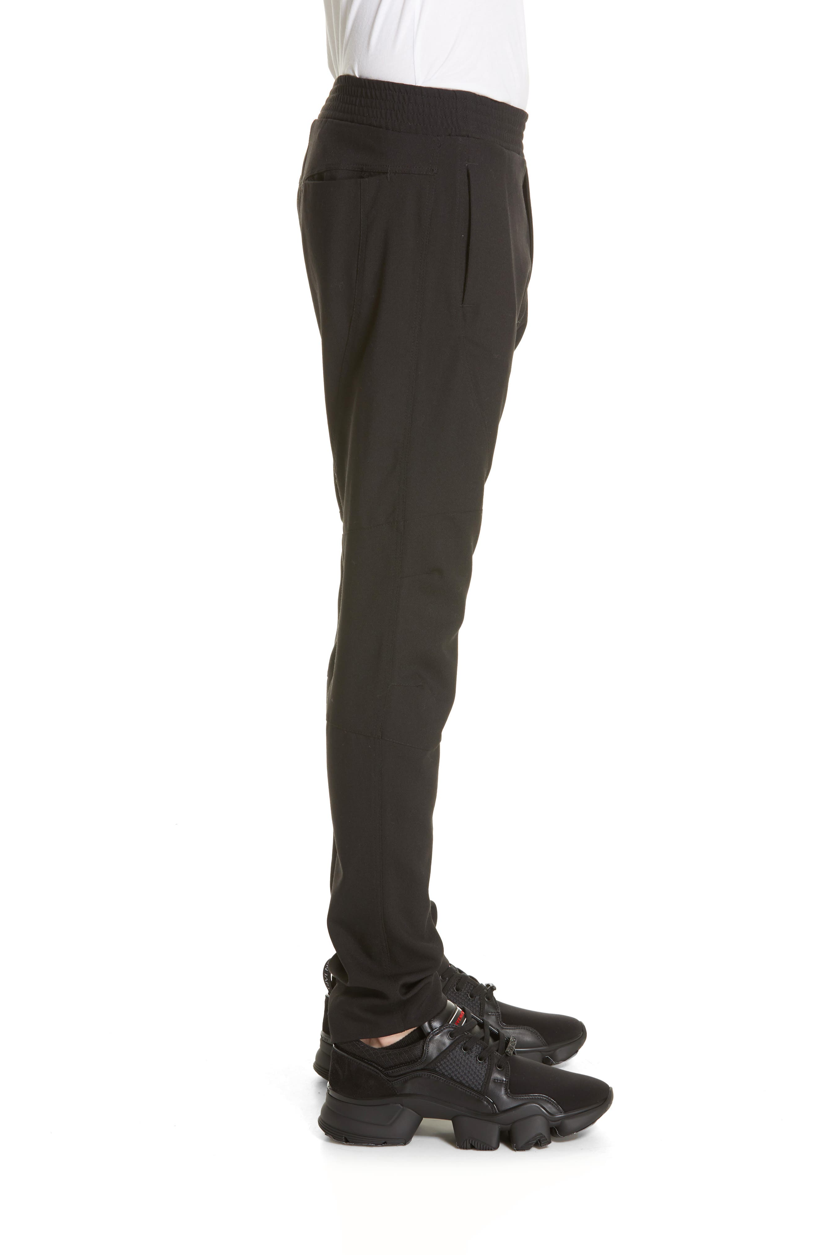 Wool & Mohair Biker Pants,                             Alternate thumbnail 3, color,                             BLACK