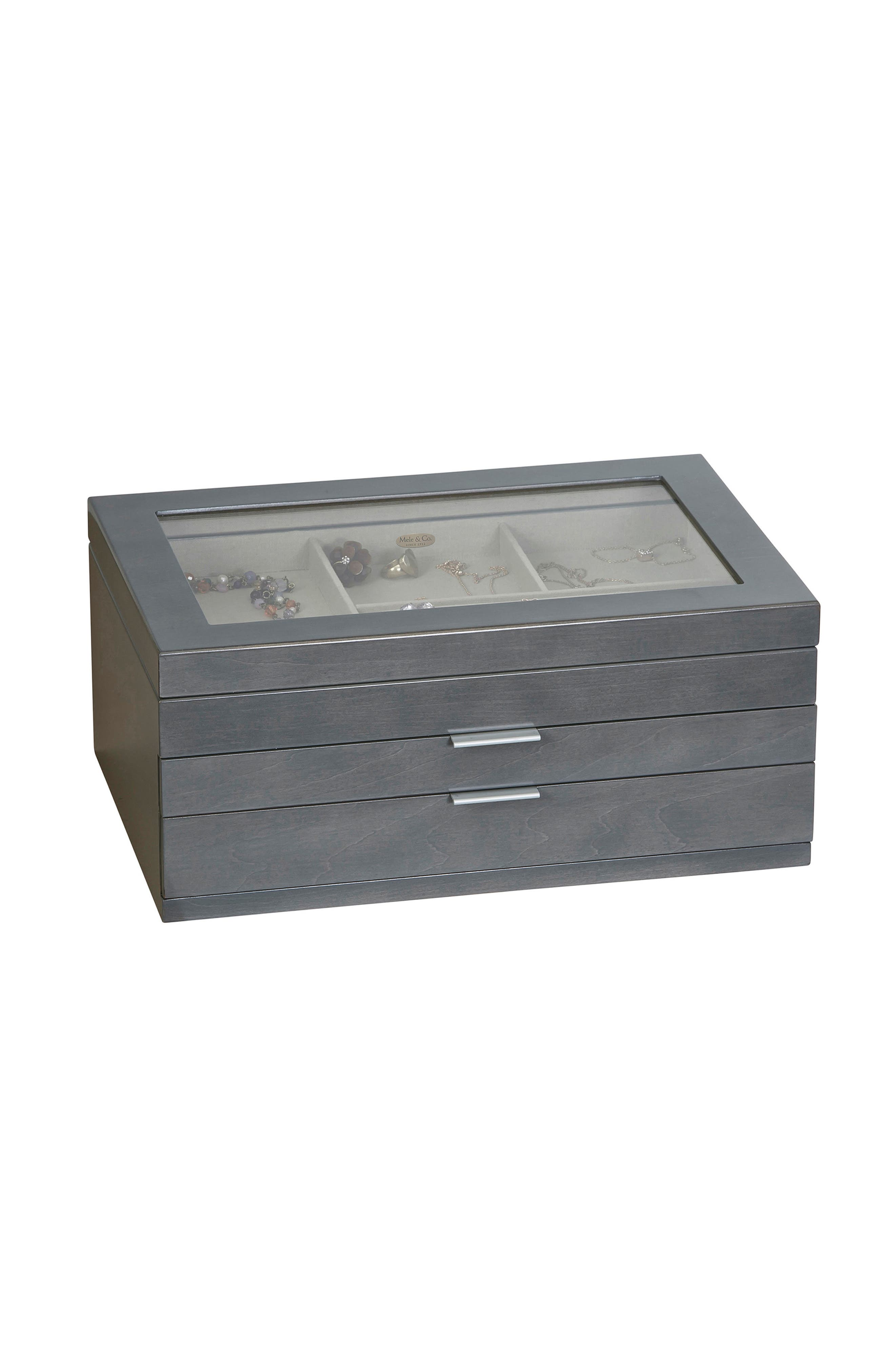 Misty Glass Top Jewelry Box,                             Main thumbnail 1, color,                             GRAY