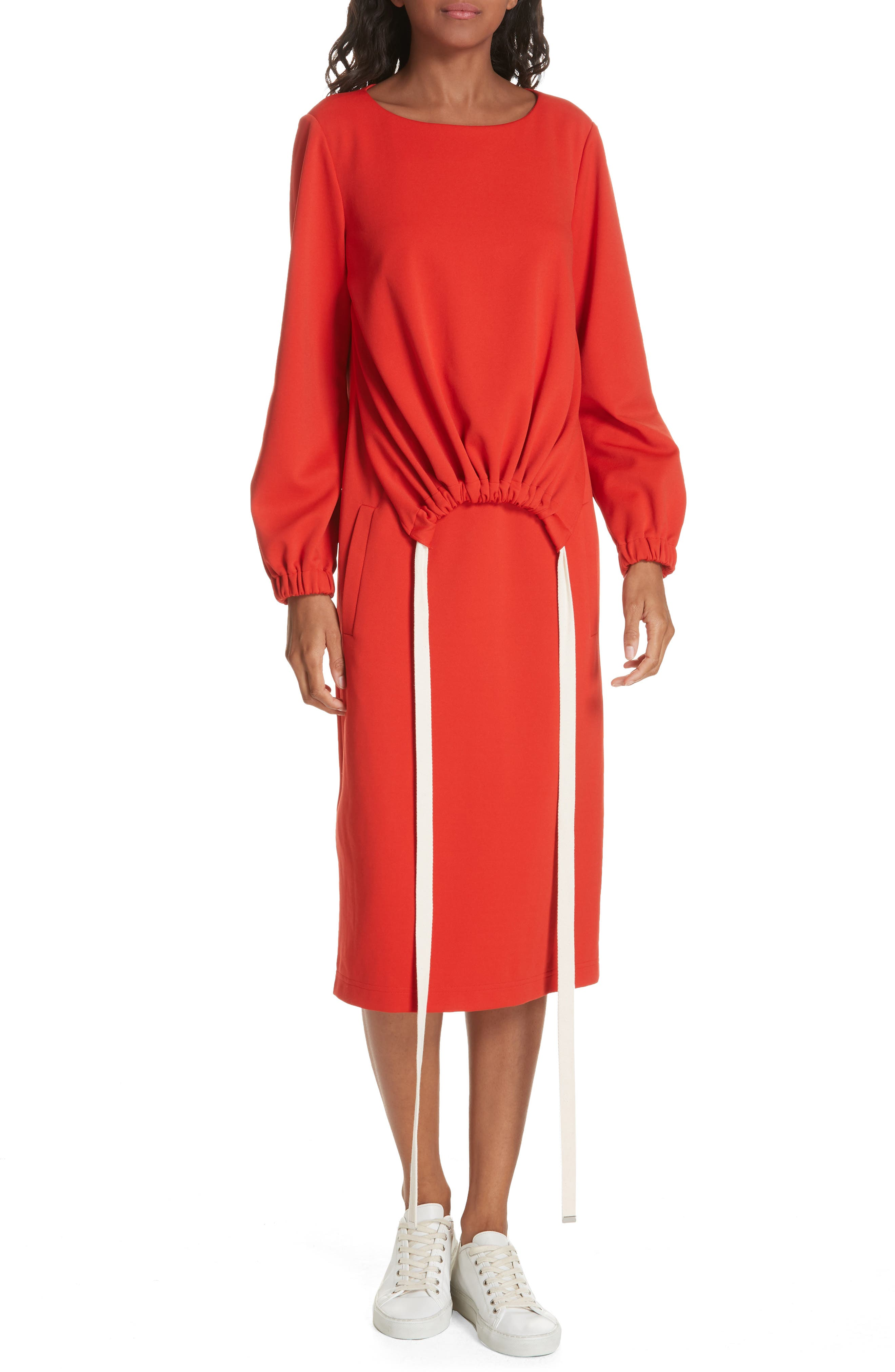 Tibi Mercer Knit Ruched Front Tie Dress, Red