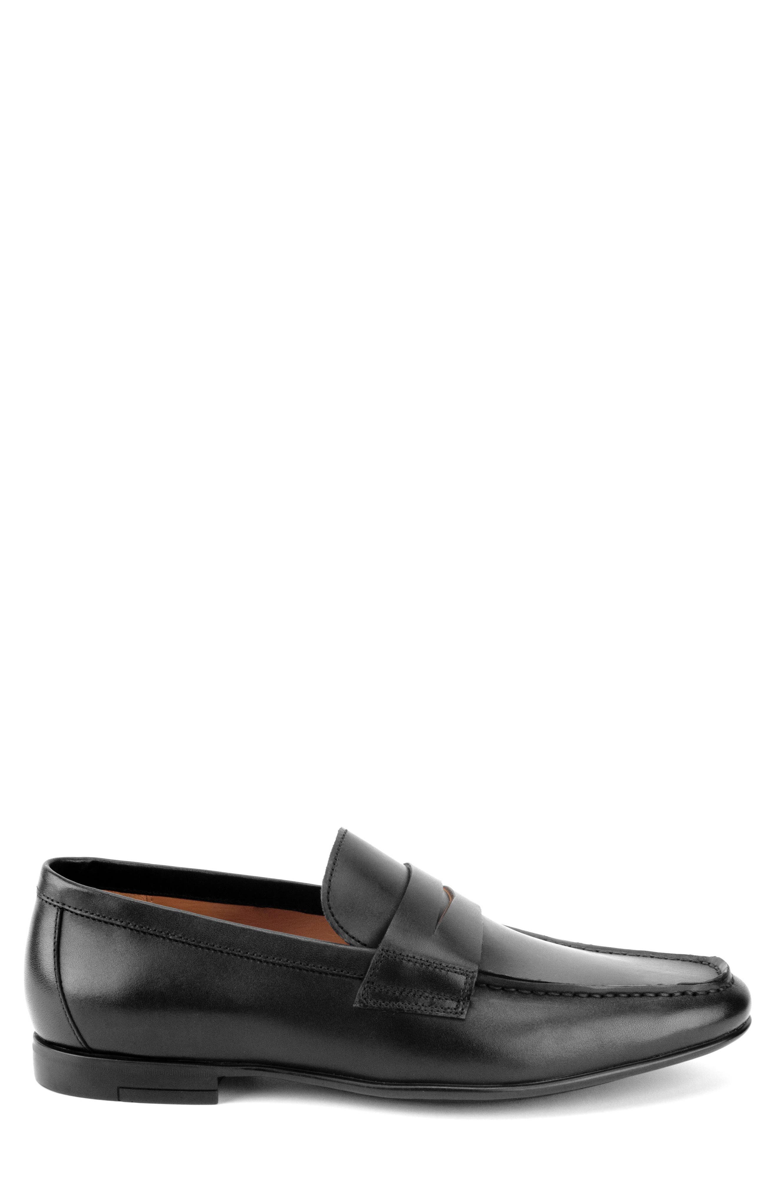 Connery Penny Loafer,                             Alternate thumbnail 3, color,                             BLACK LEATHER