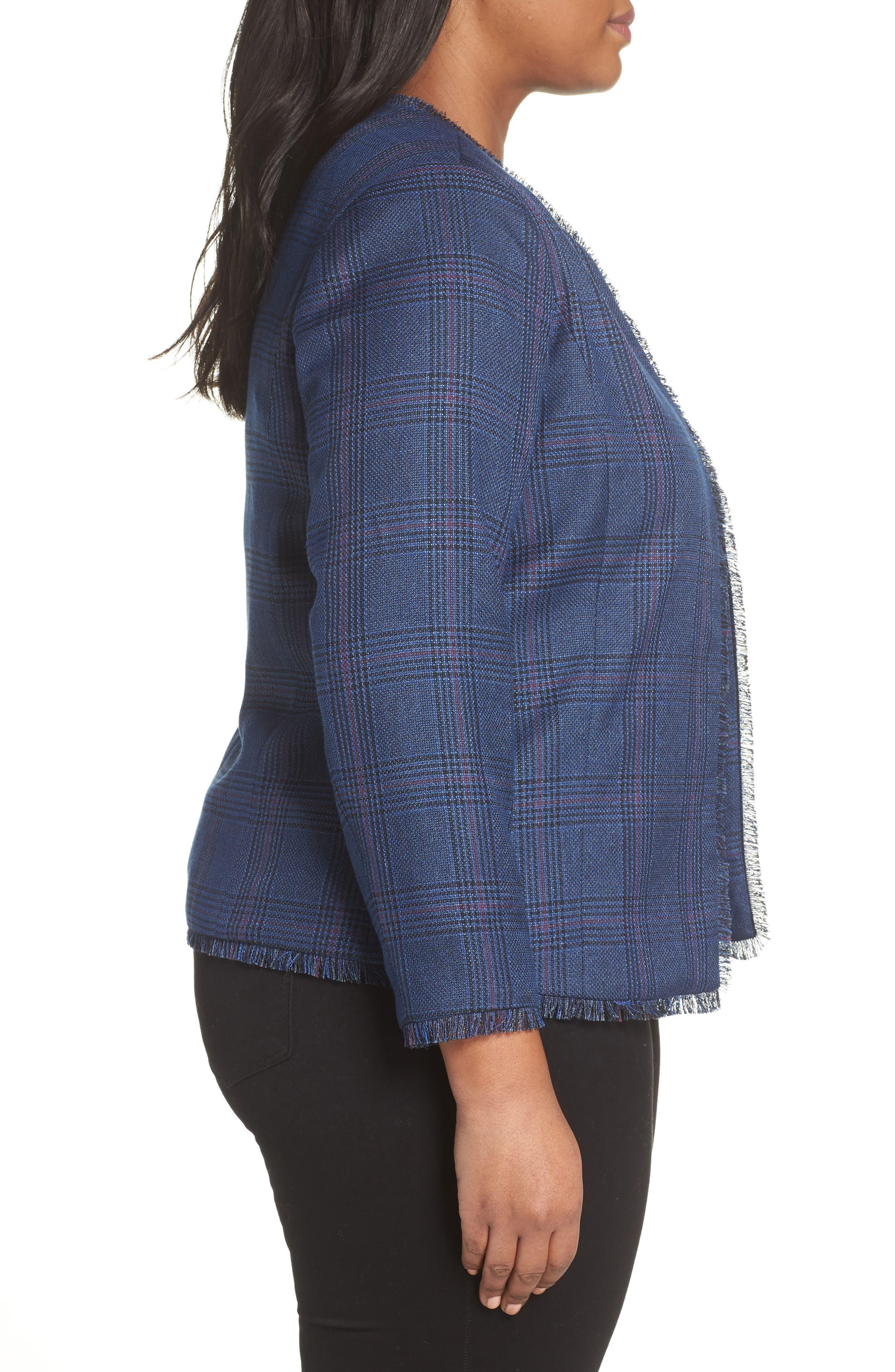 SEJOUR,                             Plaid Tweed Jacket,                             Alternate thumbnail 3, color,                             BLUE SAM PLAID