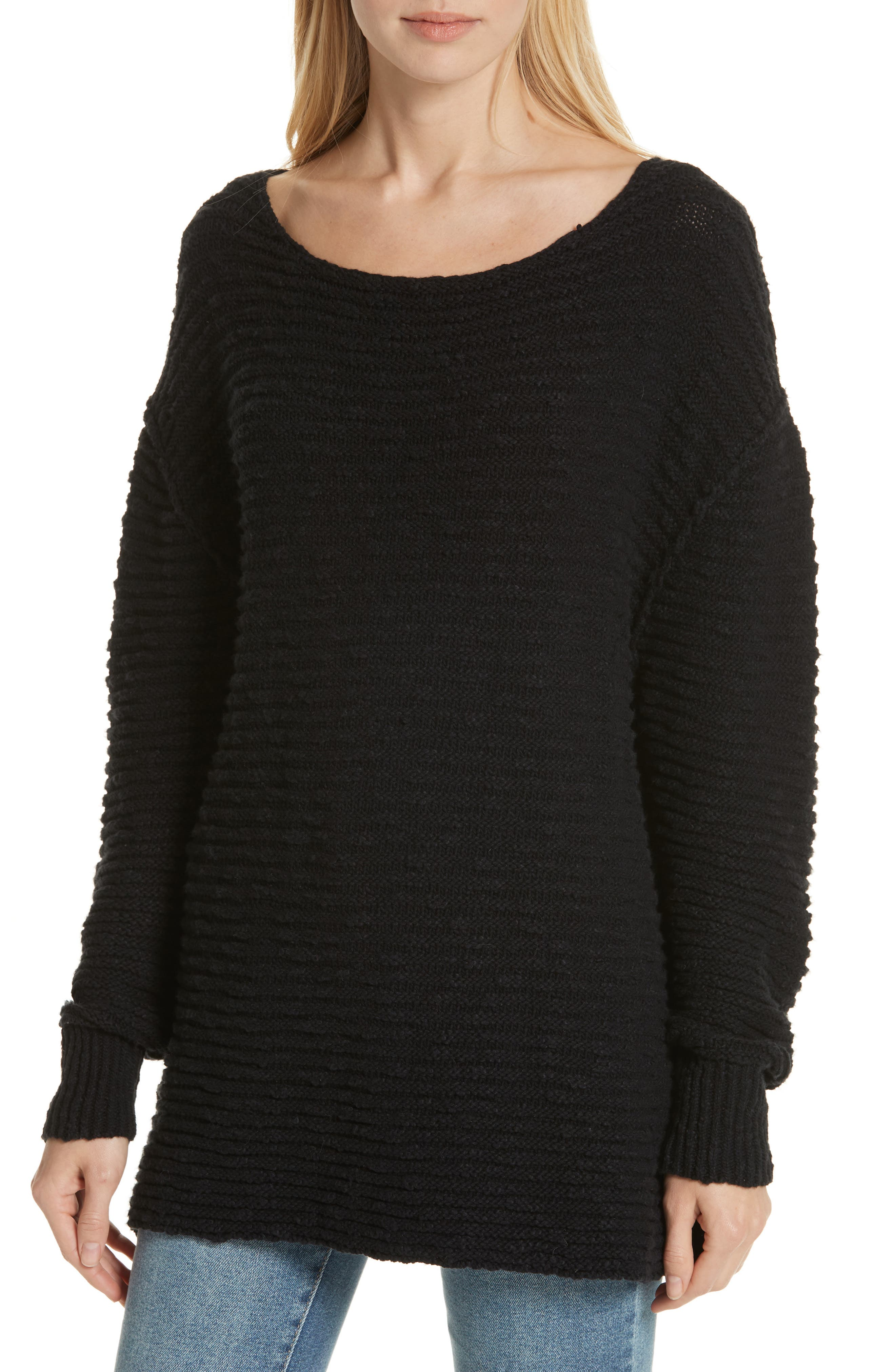 Menace Solid Tunic Sweater,                             Alternate thumbnail 4, color,                             001