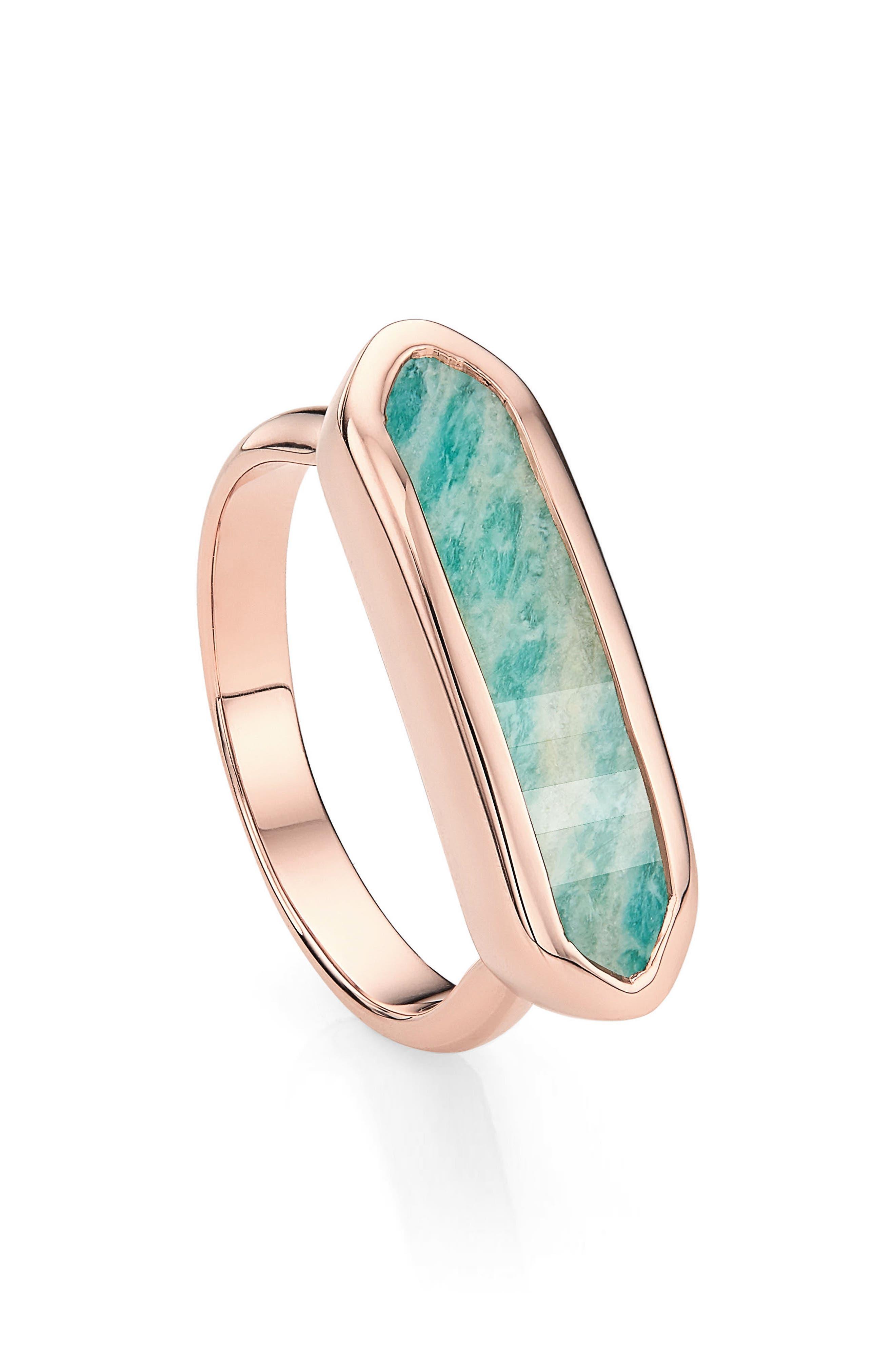 MONICA VINADER Baja Grey Agate Ring, Main, color, ROSE GOLD