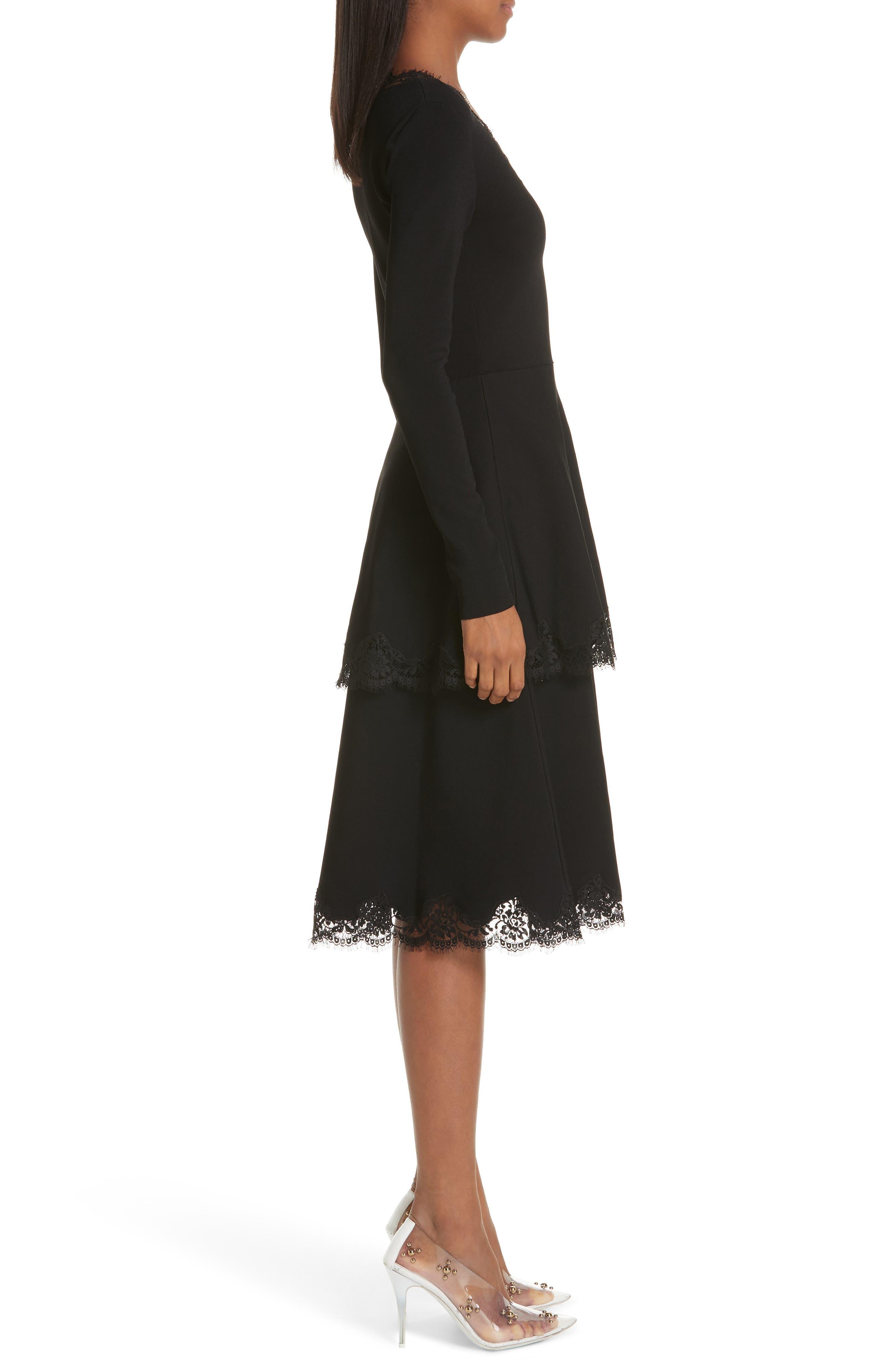 Lace Trim Tiered Sweater Dress,                             Alternate thumbnail 3, color,                             BLACK