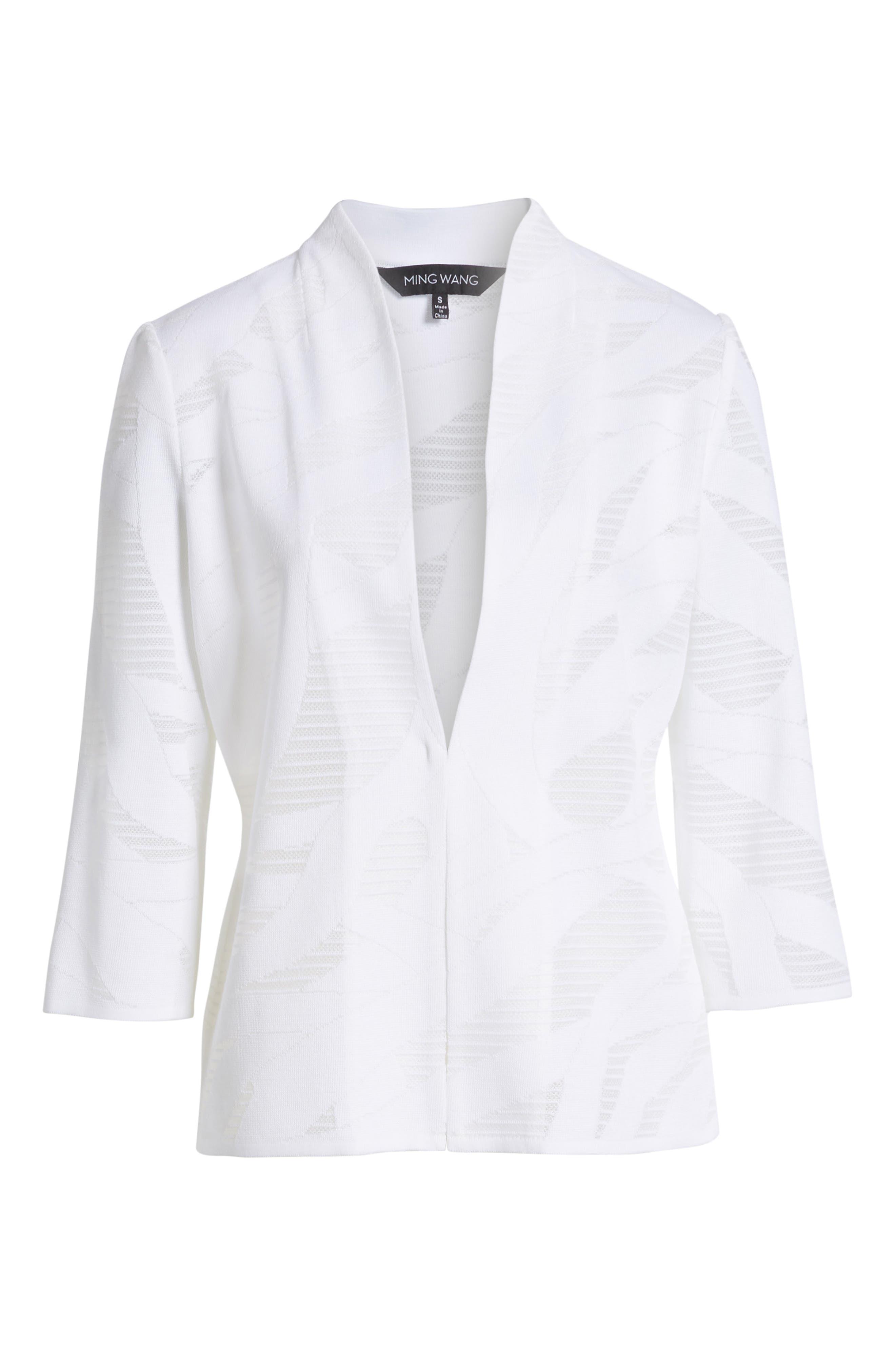 Mesh Inset Jacquard Jacket,                             Alternate thumbnail 5, color,                             WHITE