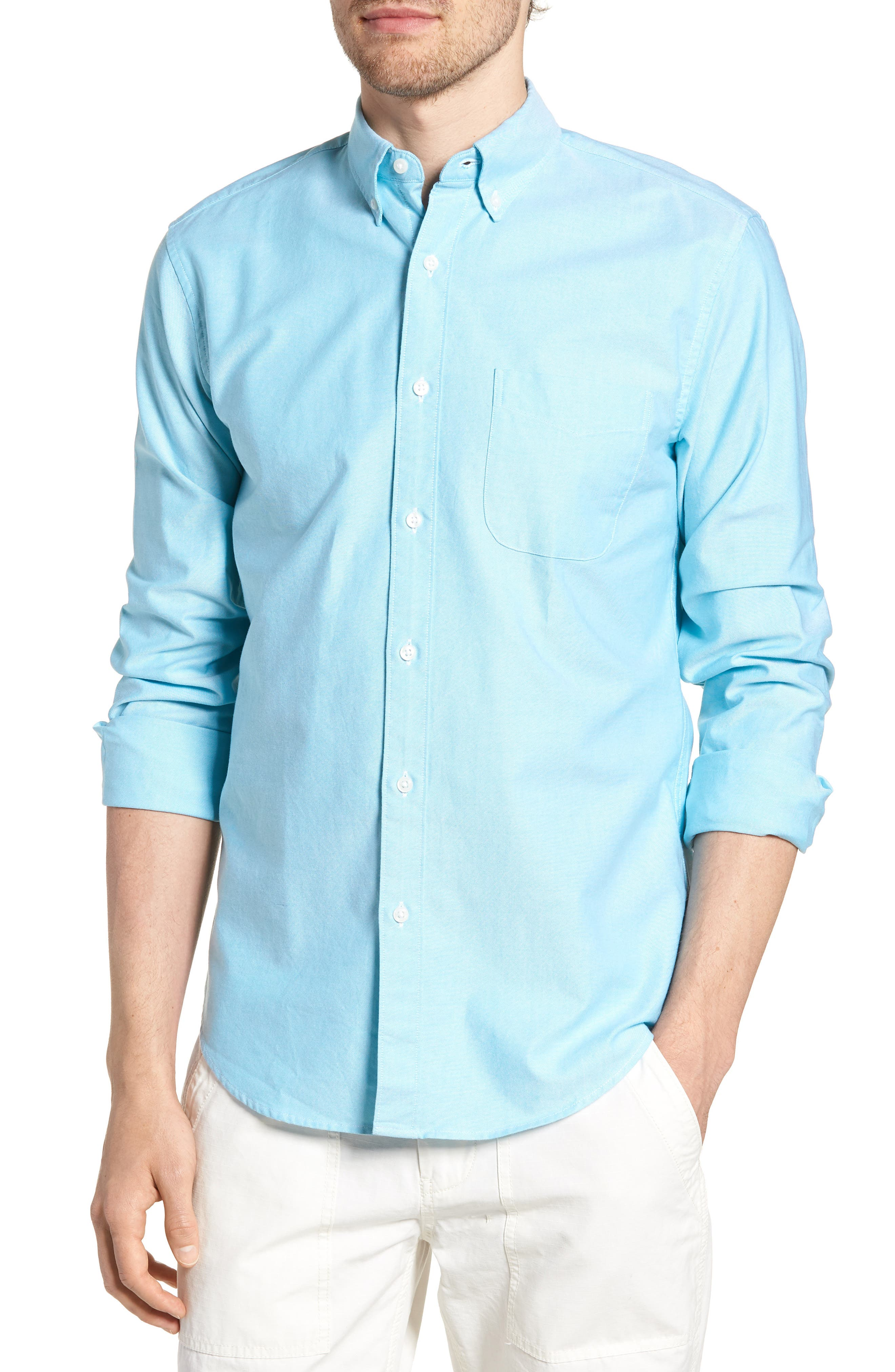 Slim Fit Stretch Pima Cotton Oxford Shirt,                             Main thumbnail 3, color,