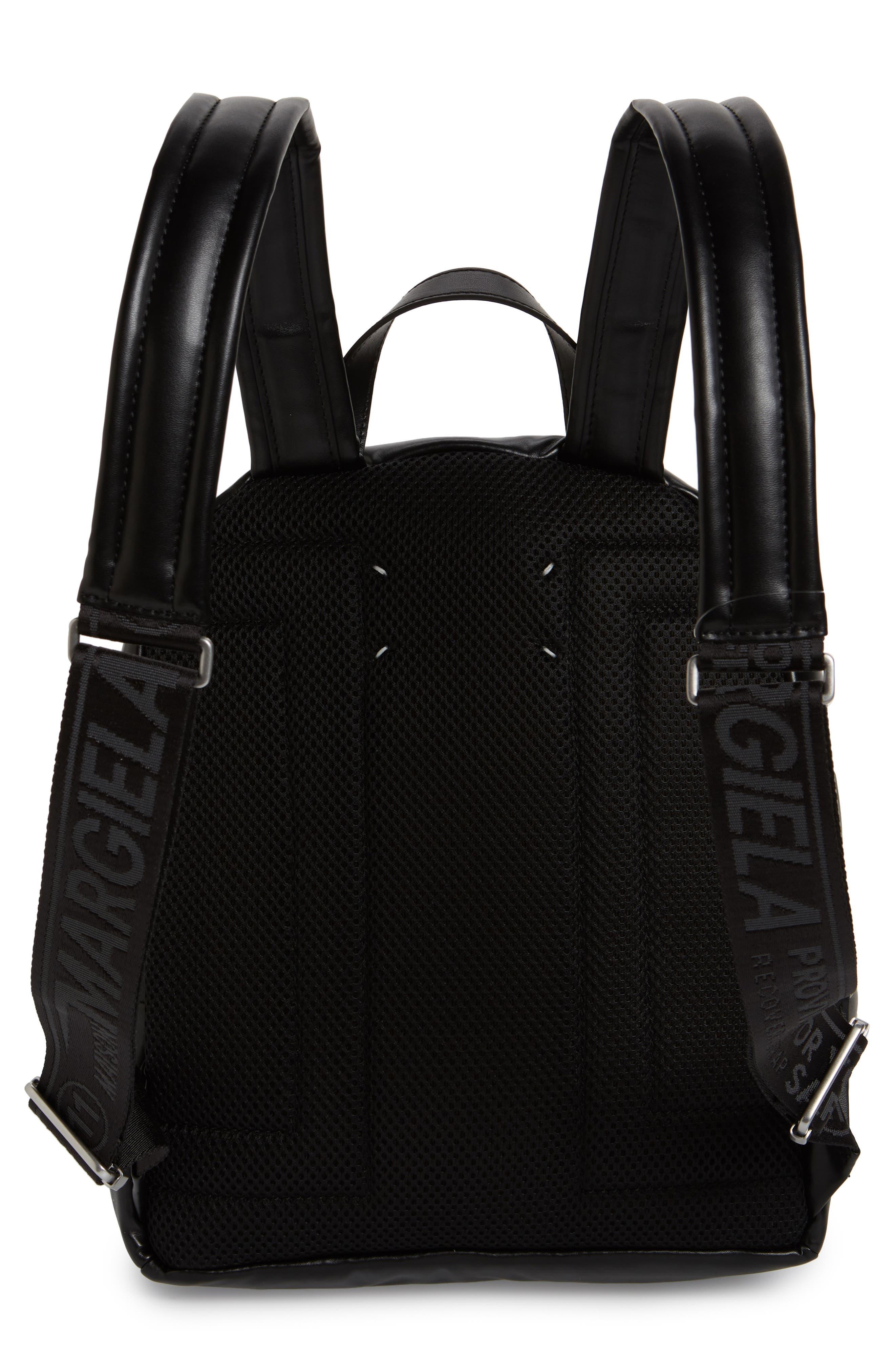 MAISON MARGIELA,                             Medium Number Print Faux Leather Backpack,                             Alternate thumbnail 3, color,                             BLACK