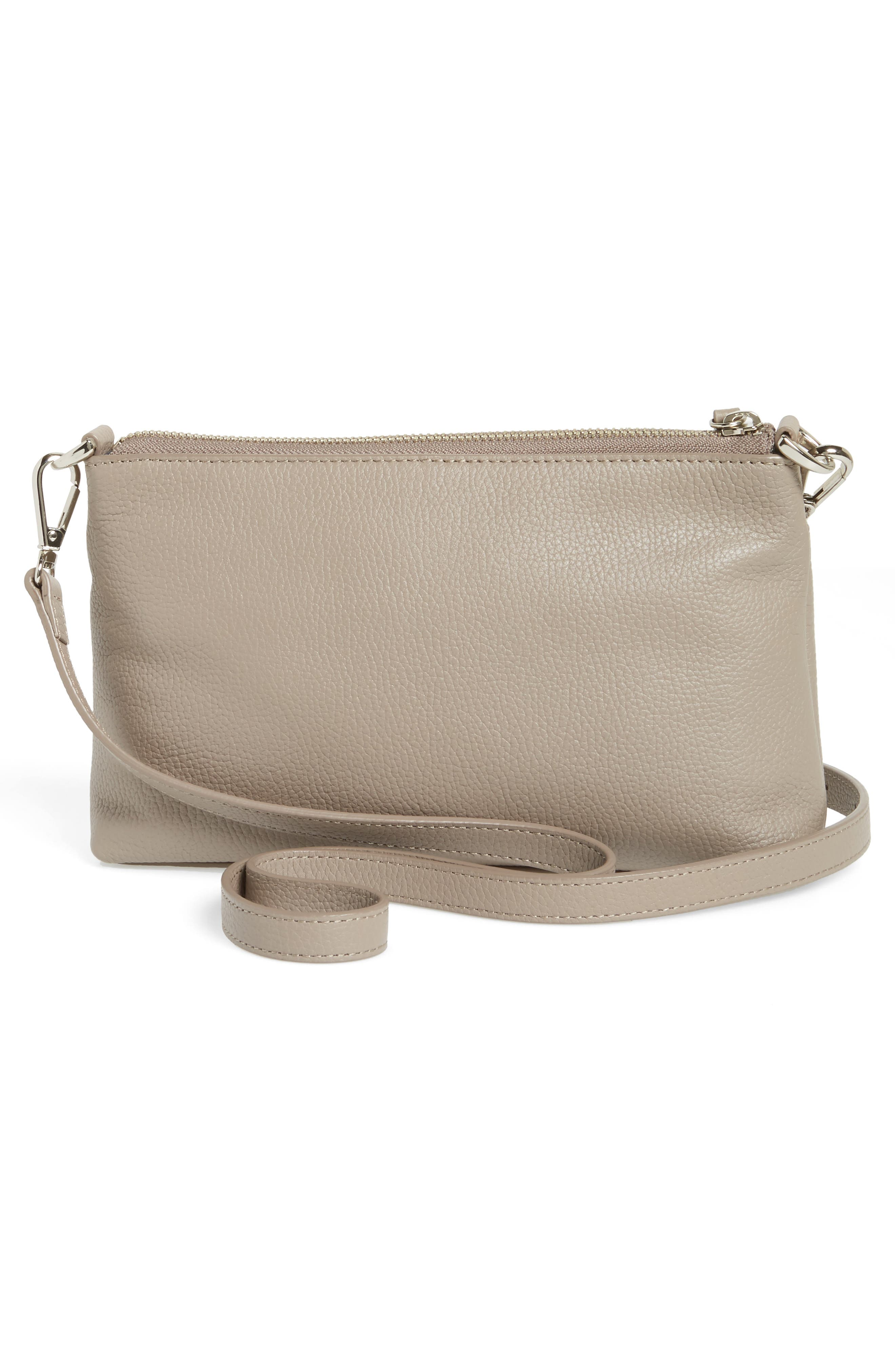 Brixton Convertible Leather Crossbody Bag with Pop-Out Card Holder,                             Alternate thumbnail 4, color,                             GREY TAUPE