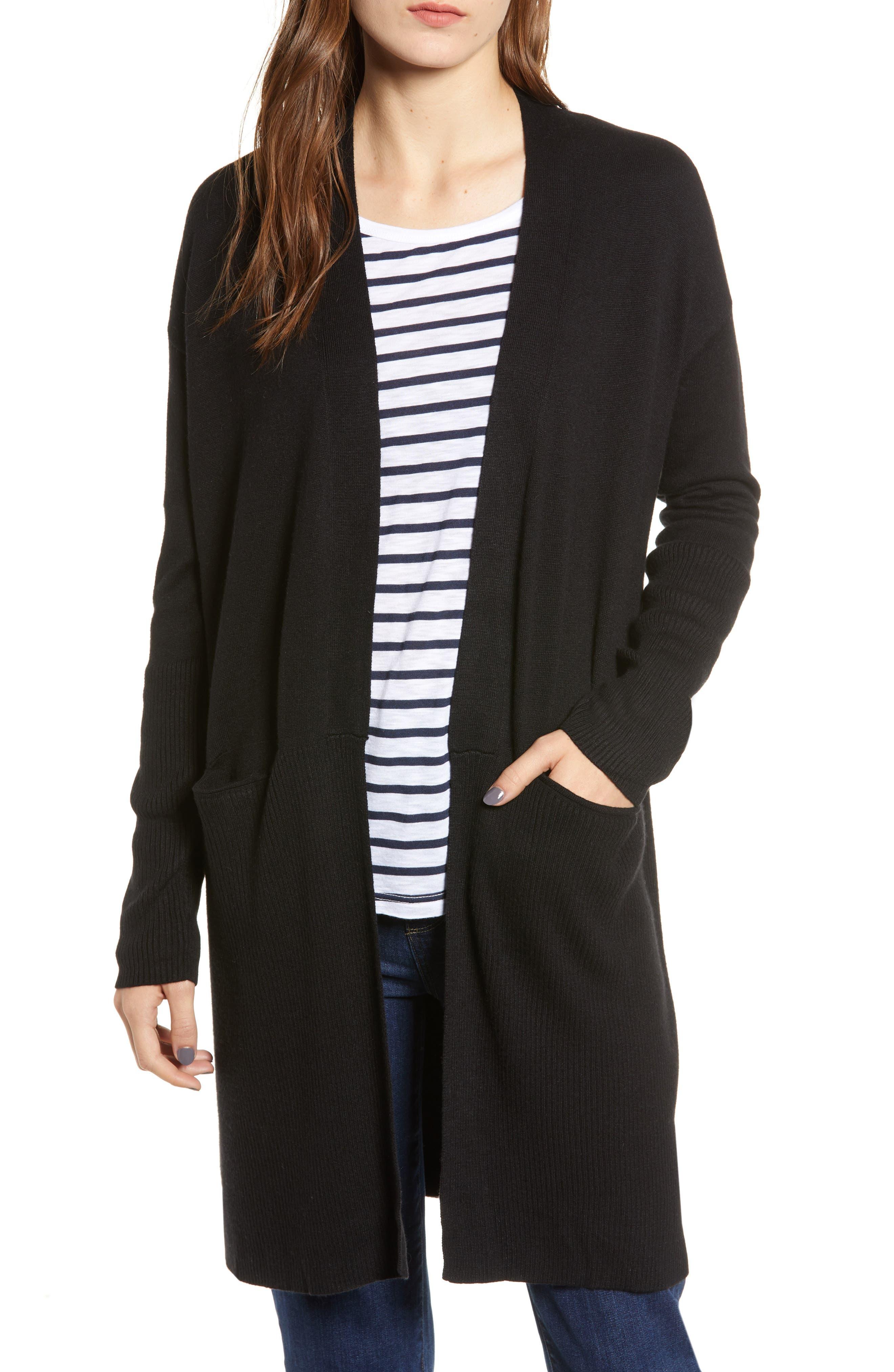 Long Cardigan,                         Main,                         color, BLACK