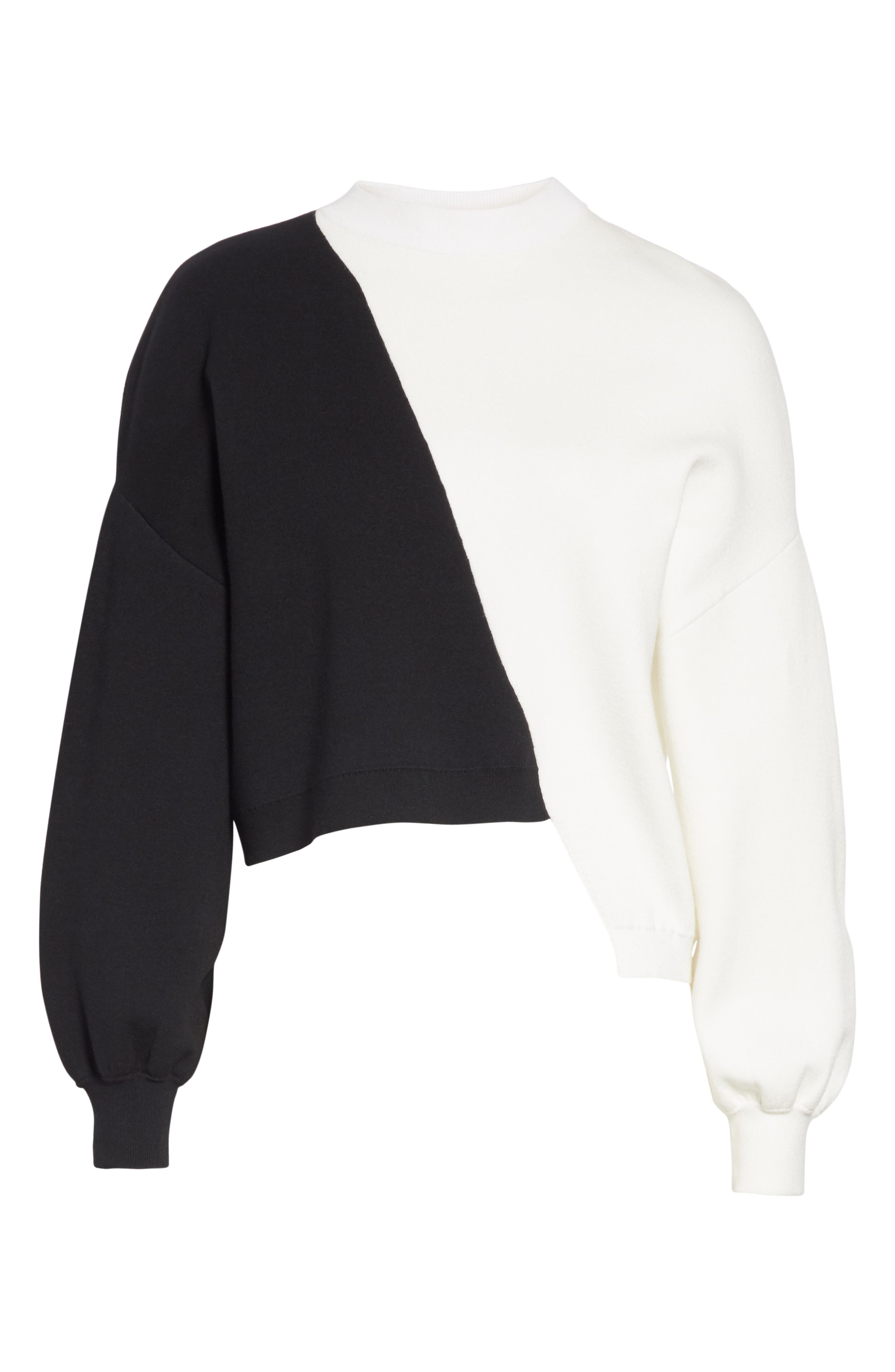 Elyse Asymmetrical Crop Pullover,                             Alternate thumbnail 6, color,                             BLACK/ WHITE