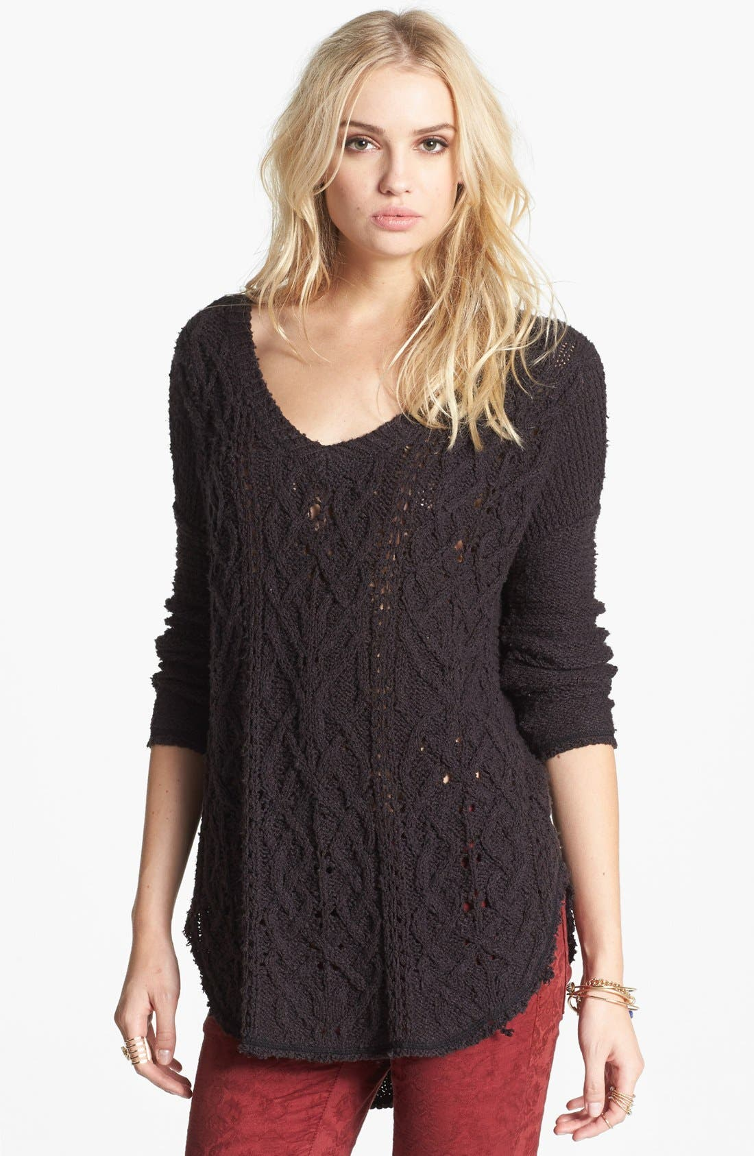 FREE PEOPLE,                             'Cross My Heart' High/Low Sweater,                             Main thumbnail 1, color,                             001