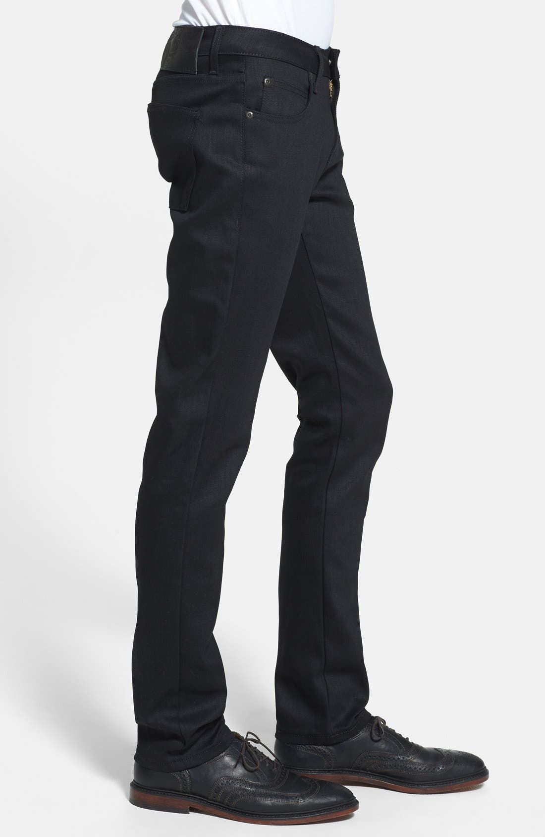'Super Skinny Guy' Skinny Fit Raw Jeans,                             Alternate thumbnail 2, color,                             BLACK POWER STRETCH