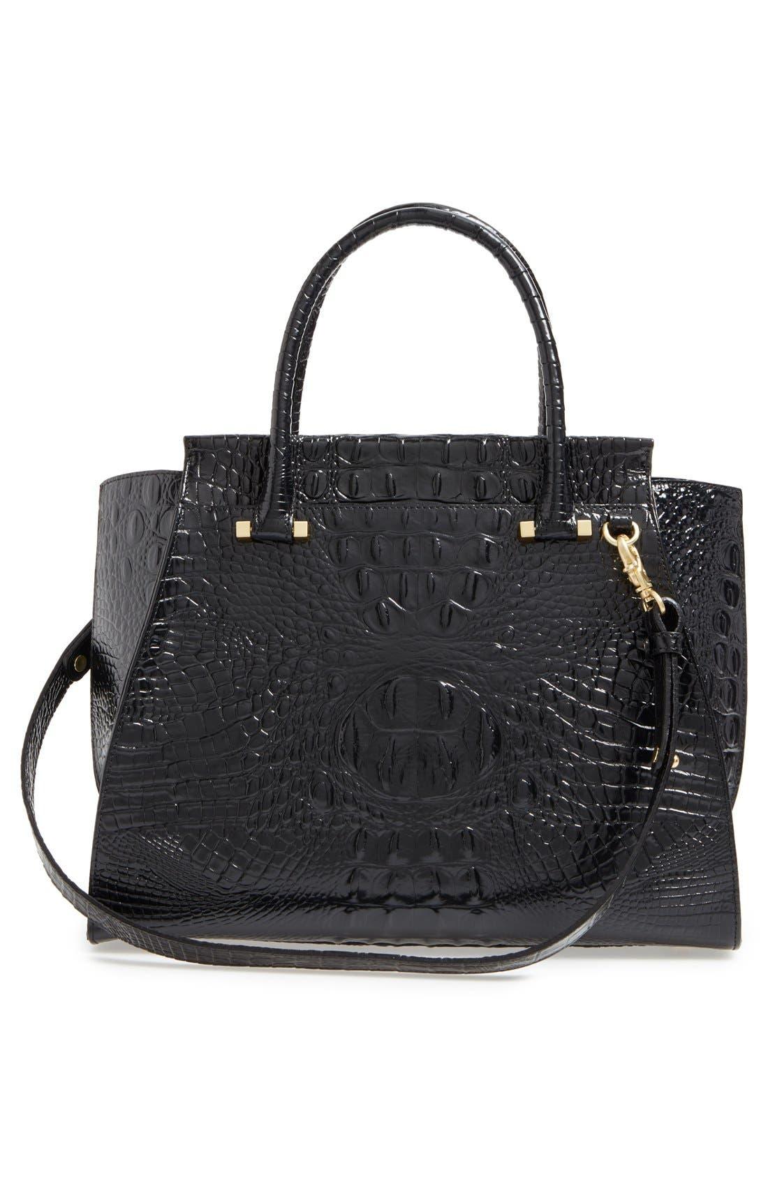 'Priscilla' Croc Embossed Leather Satchel,                             Alternate thumbnail 8, color,                             BLACK