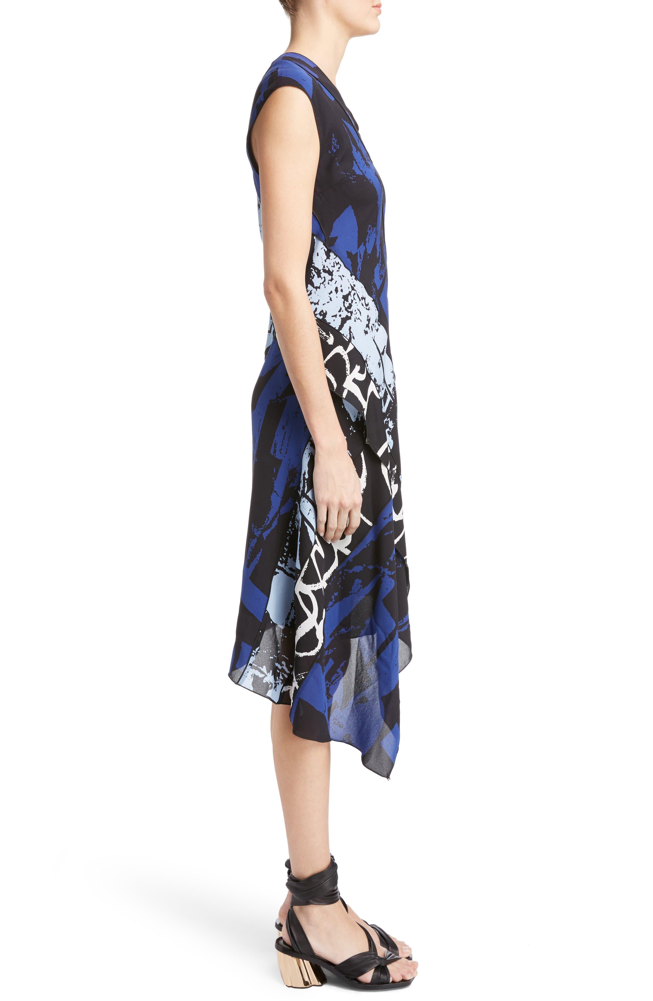 Print Silk Georgette Asymmetrical Dress,                             Alternate thumbnail 3, color,                             400