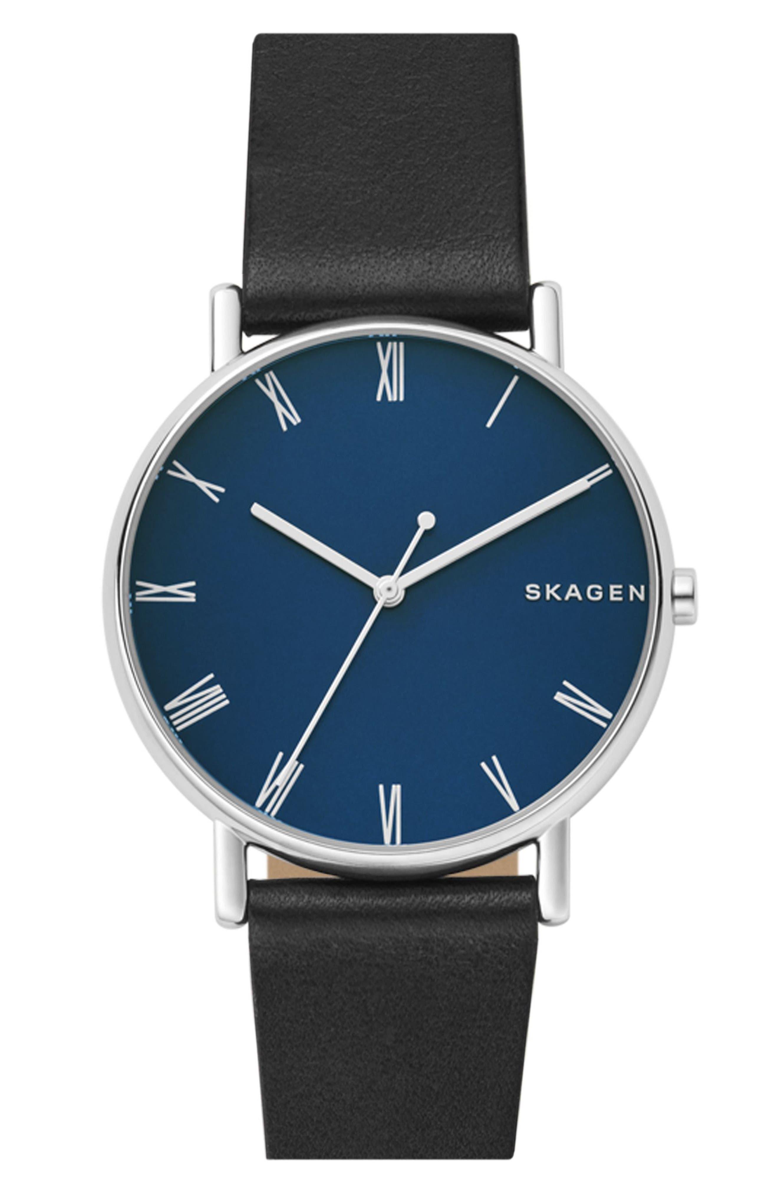 Signatur Slim Leather Strap Watch, 40mm,                             Main thumbnail 3, color,