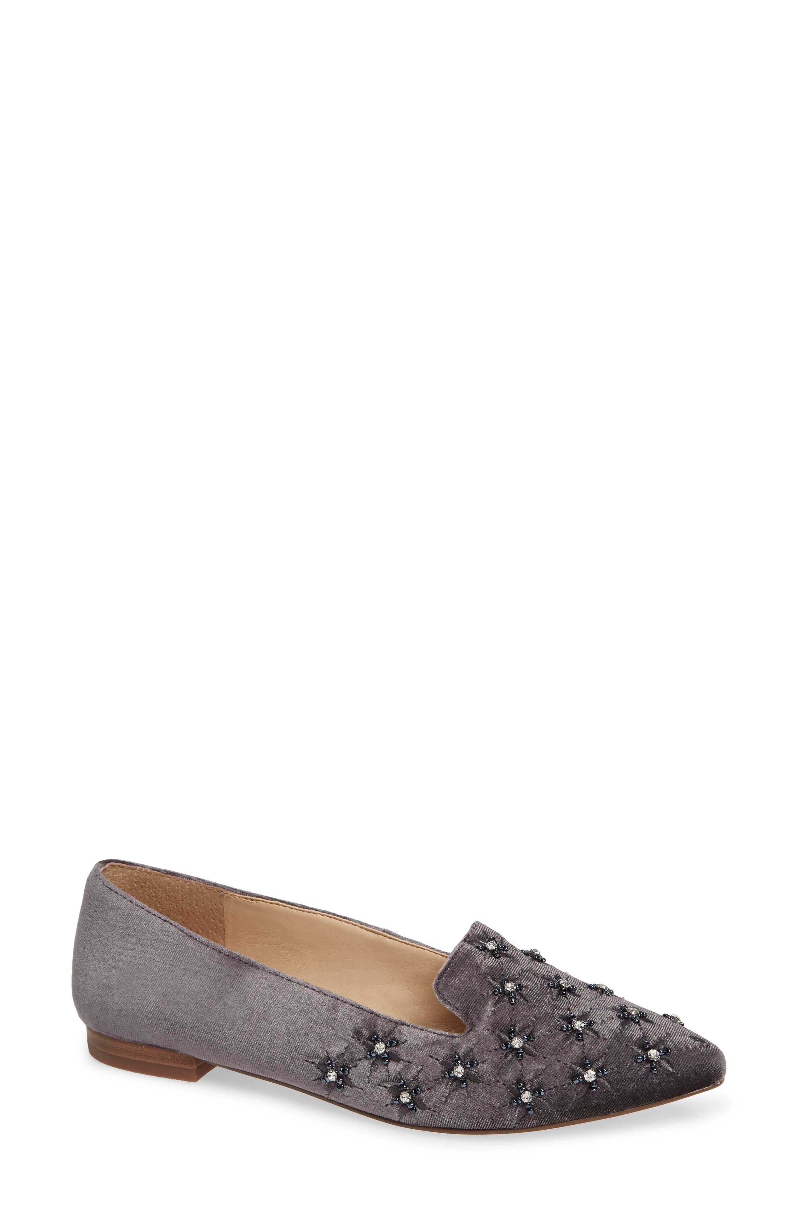 Letticah Crystal Embellished Loafer, Main, color, SILVER ASH VELVET