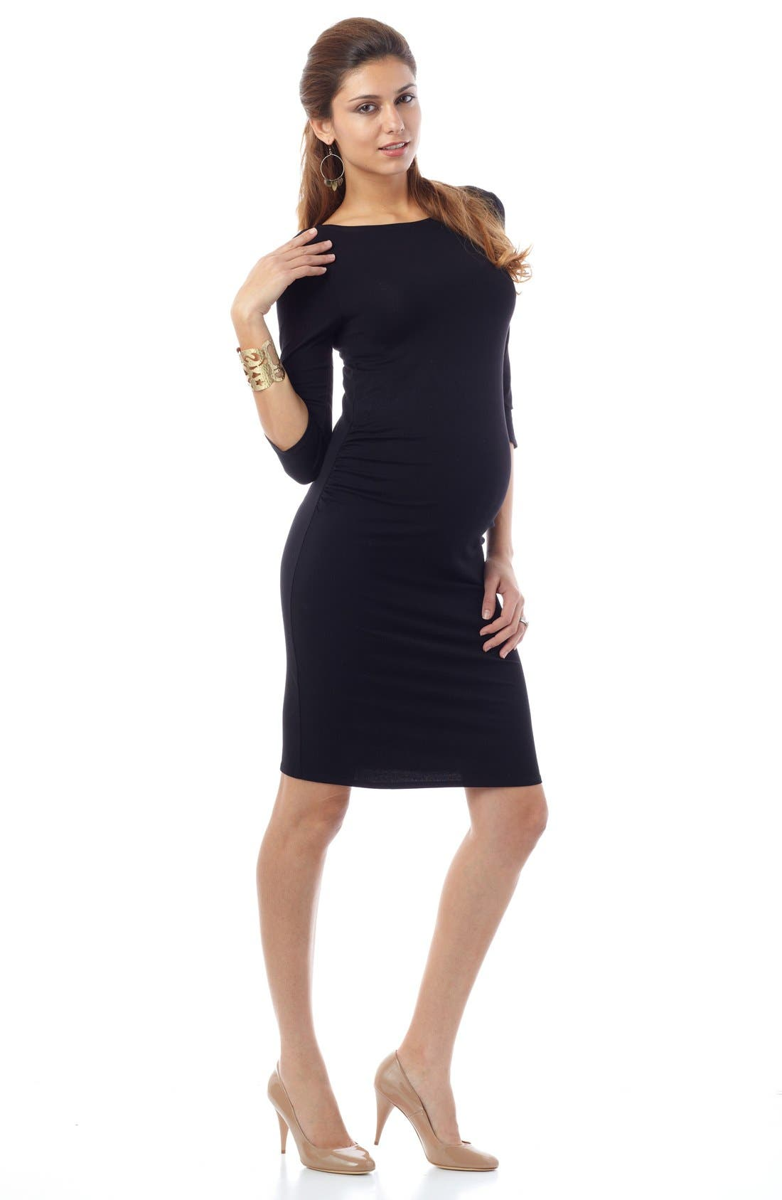 'Tessa' Ruched Shift Maternity Dress,                             Alternate thumbnail 2, color,                             001