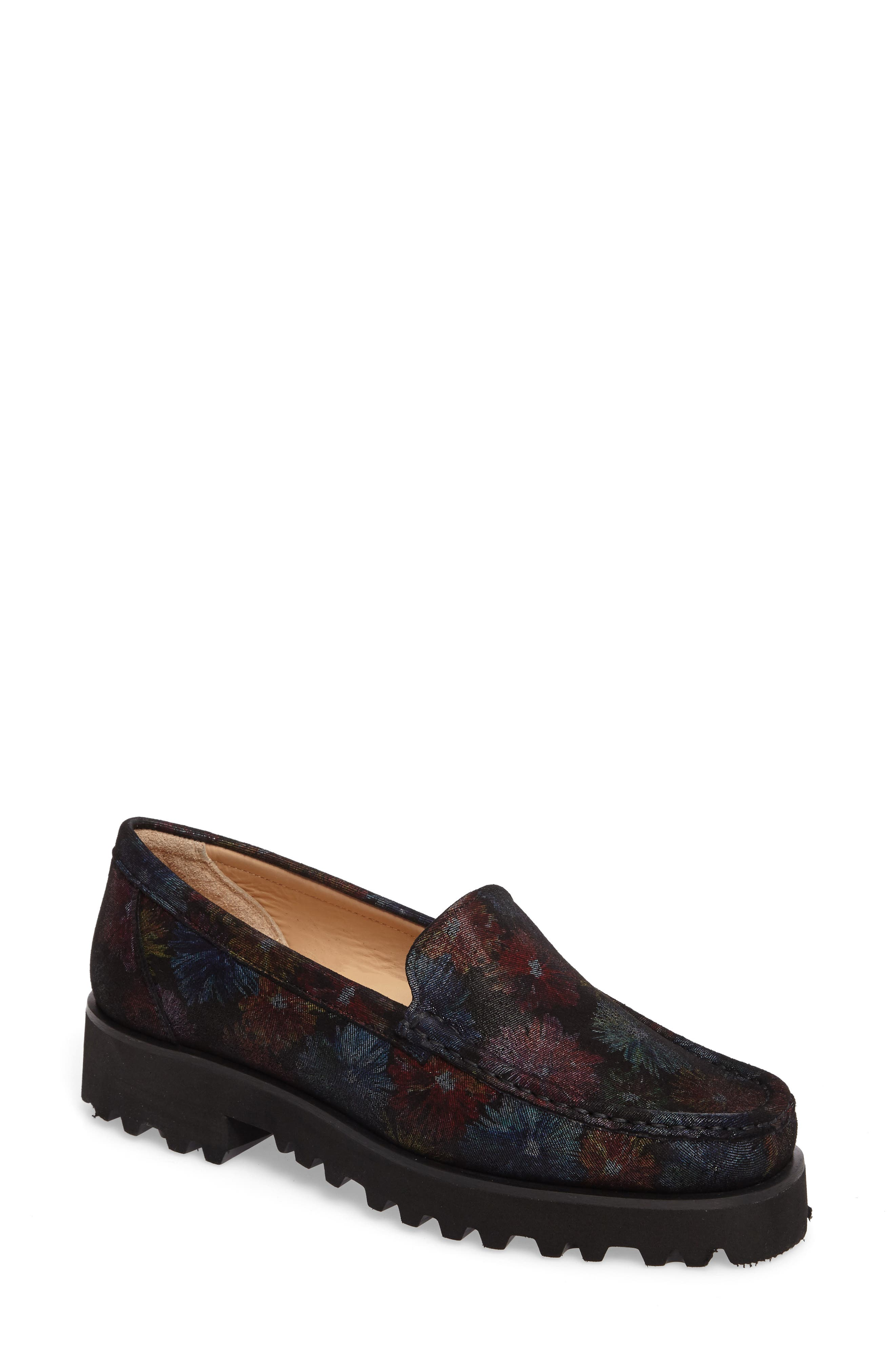 Rita Floral Water Resistant Penny Loafer,                             Main thumbnail 1, color,                             400