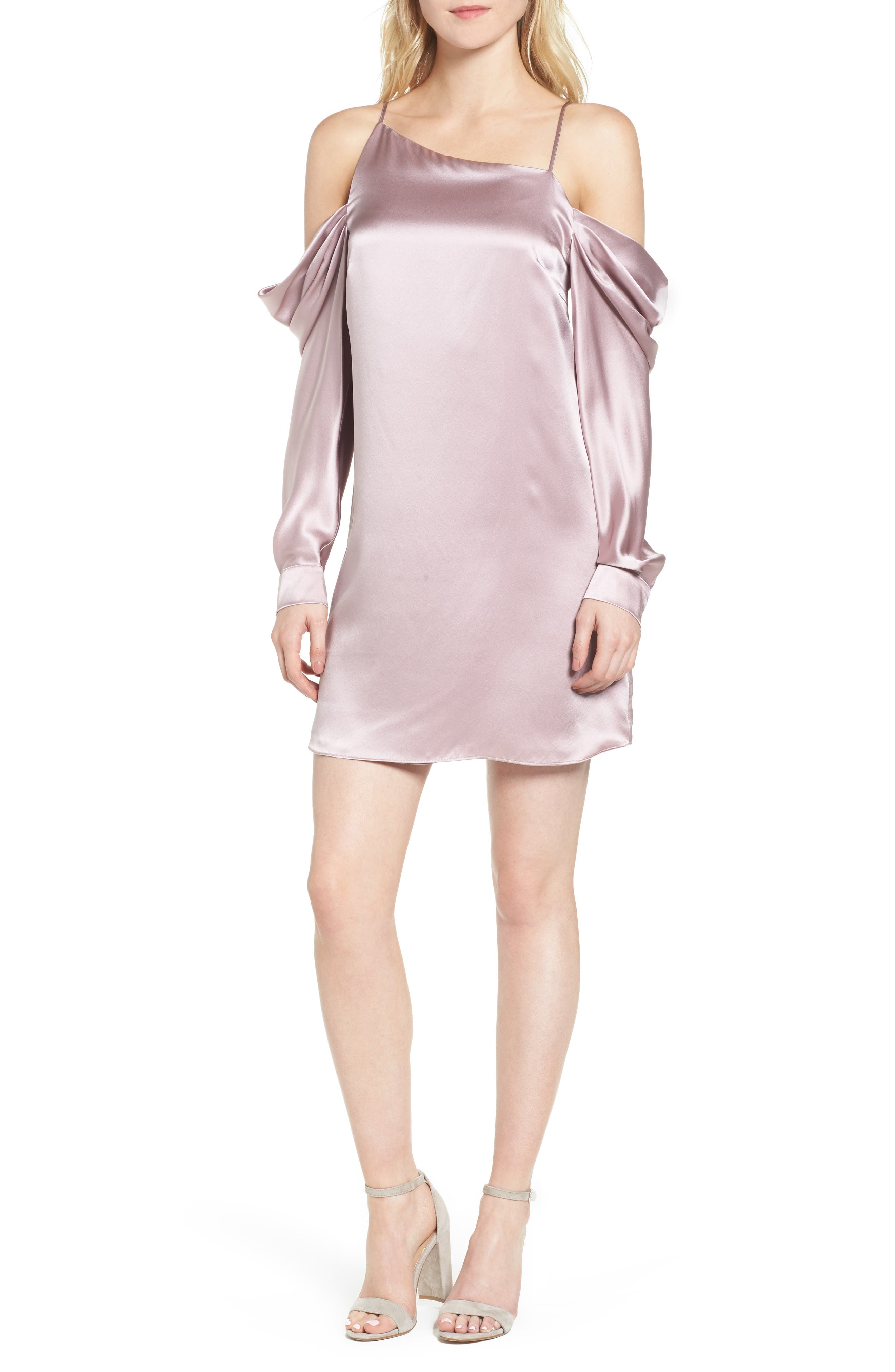 Camille Asymmetrical Silk Minidress,                             Main thumbnail 1, color,