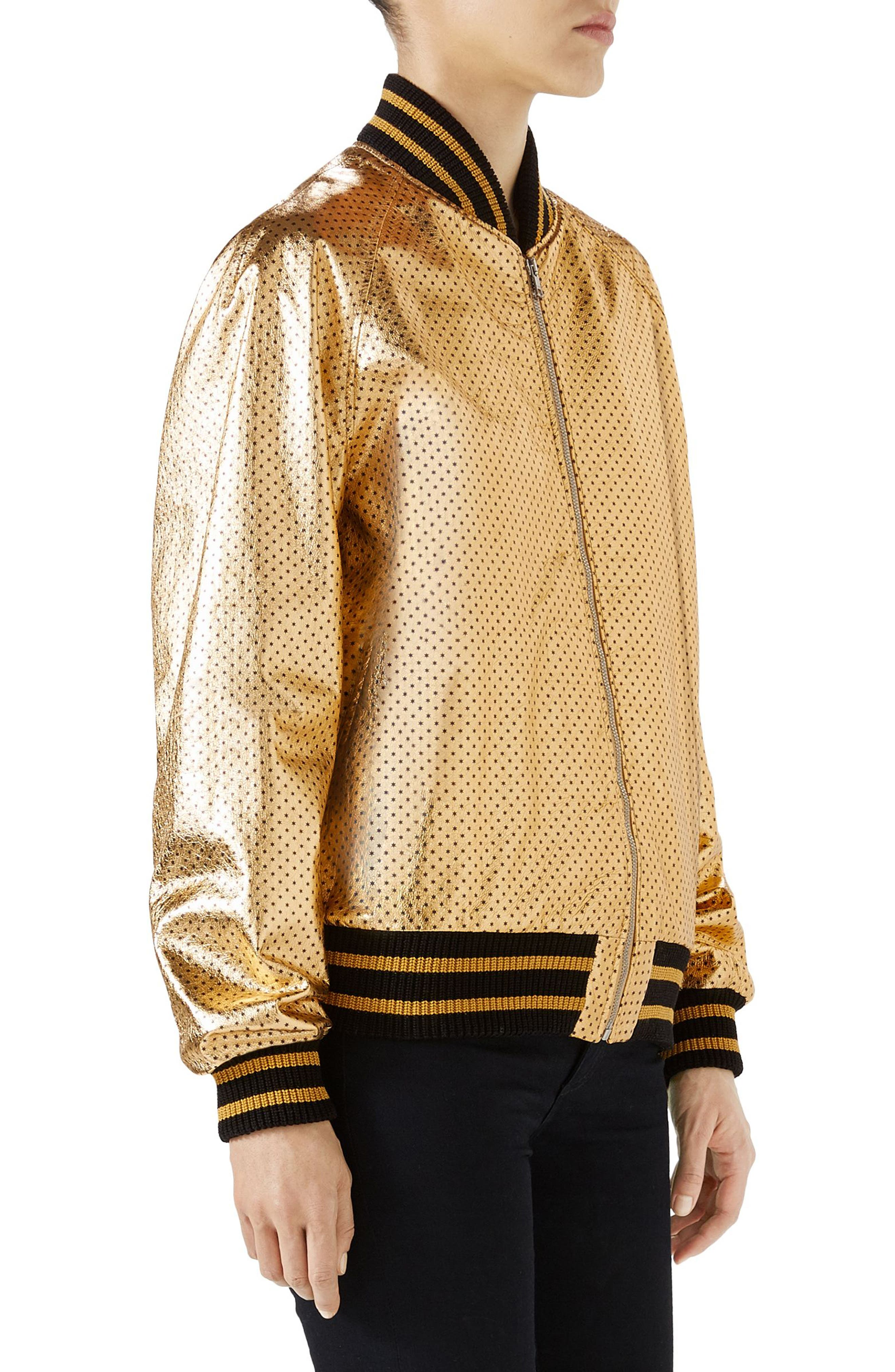 Metallic Perforated Leather Bomber Jacket,                             Alternate thumbnail 3, color,                             713