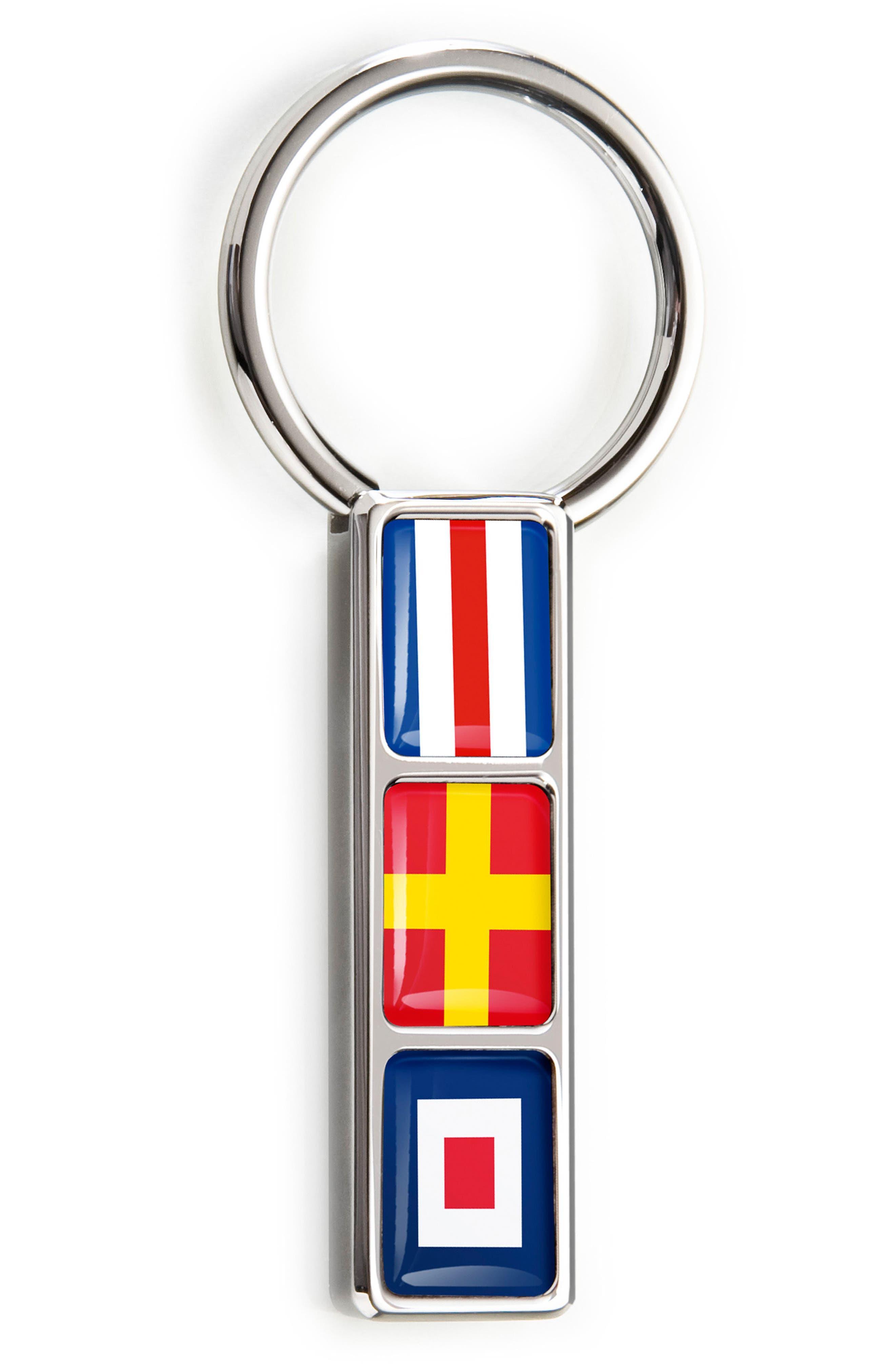 M-Clip Nautical Flag Key Ring,                             Main thumbnail 1, color,                             040