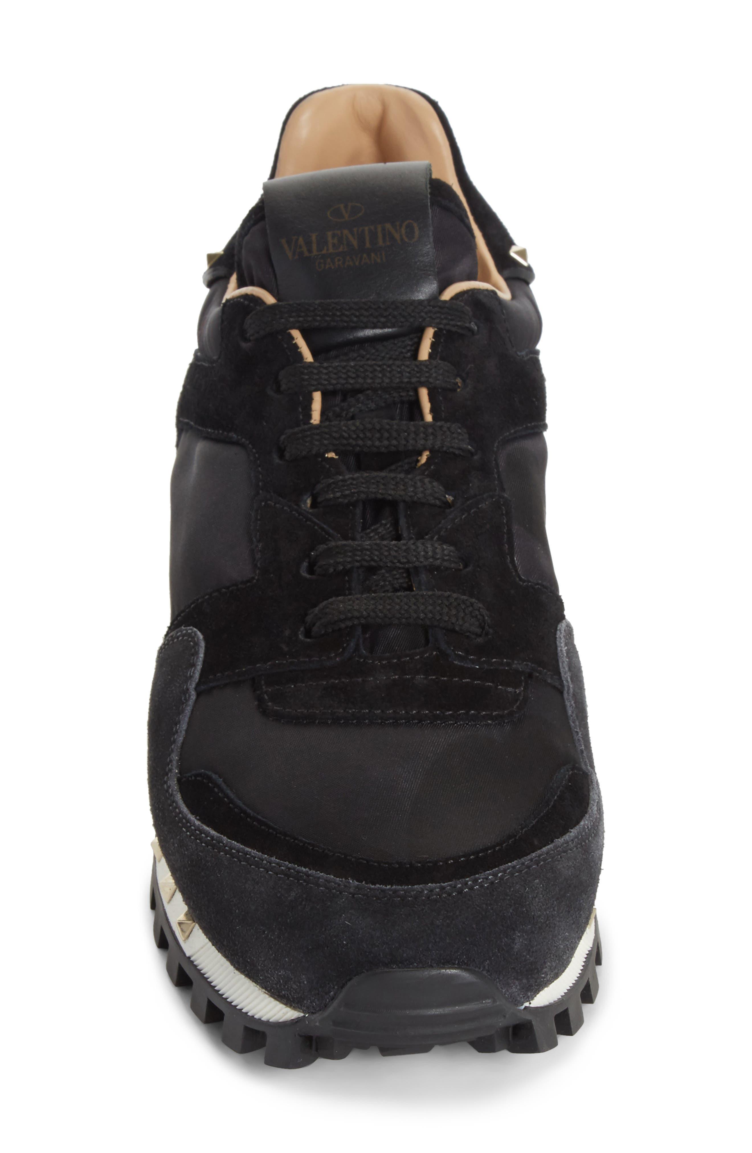 Rockstud Sneaker,                             Alternate thumbnail 4, color,                             BLACK/ GREY